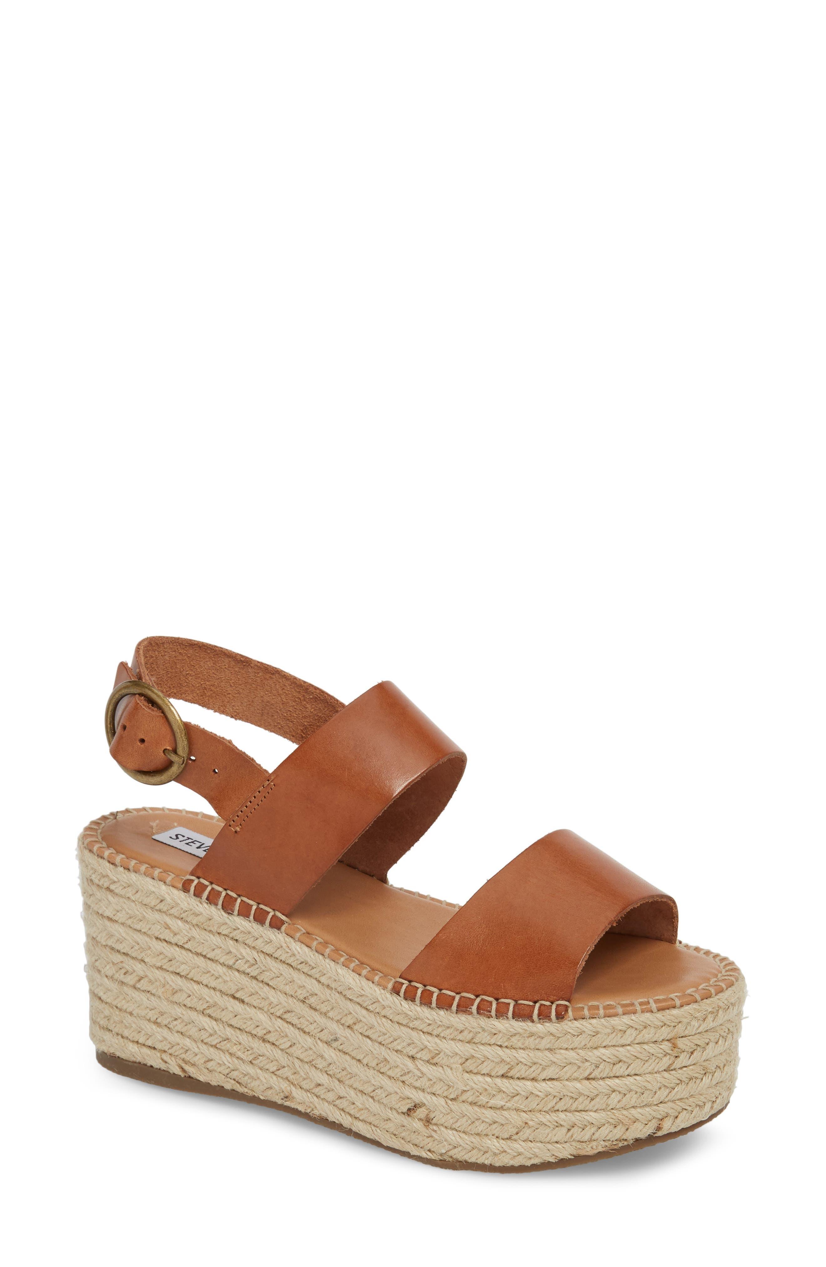 Cali Espadrille Platform Sandal,                             Main thumbnail 1, color,                             Cognac Leather