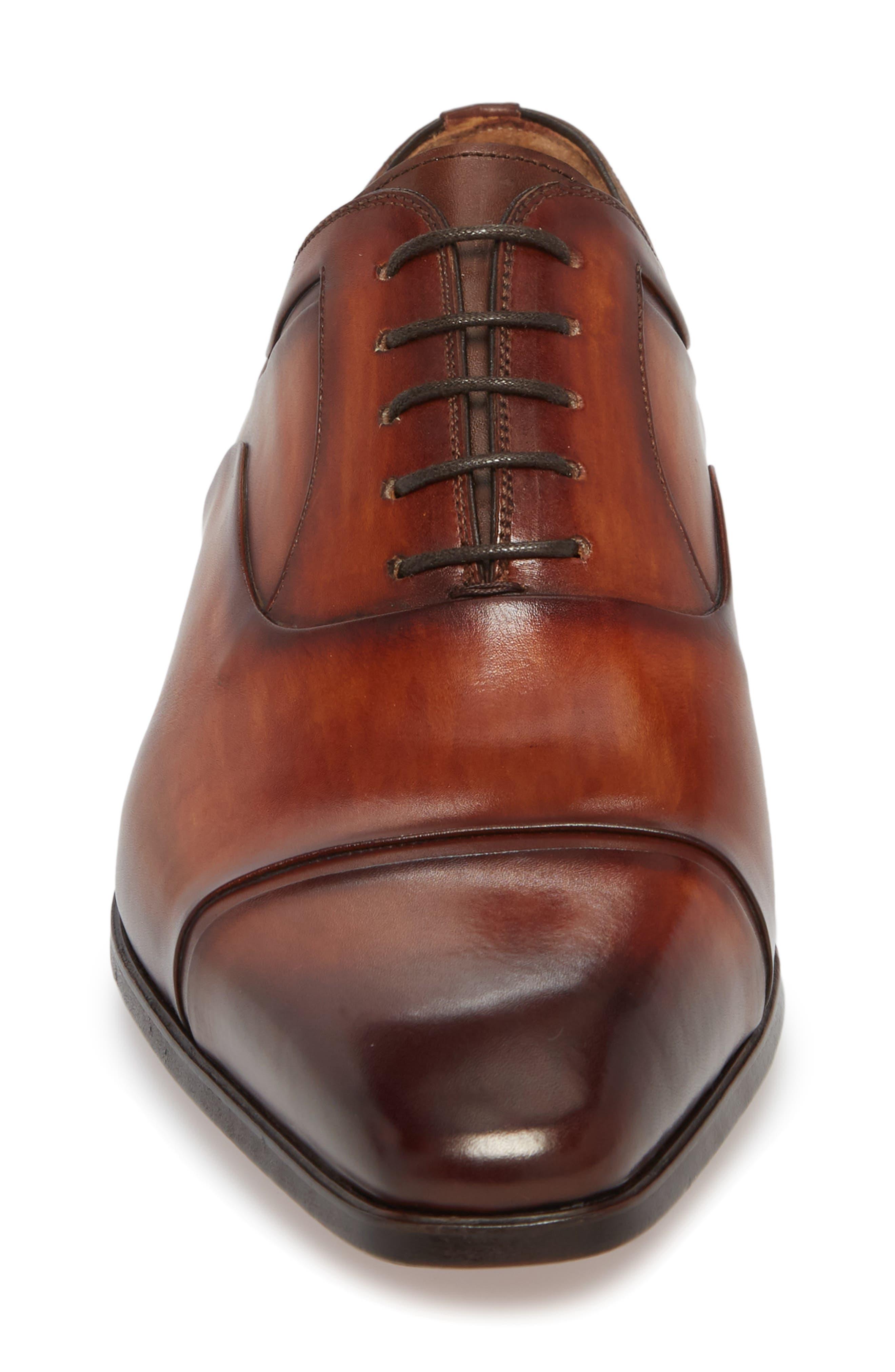 Tobin Cap Toe Oxford,                             Alternate thumbnail 4, color,                             Cognac Leather