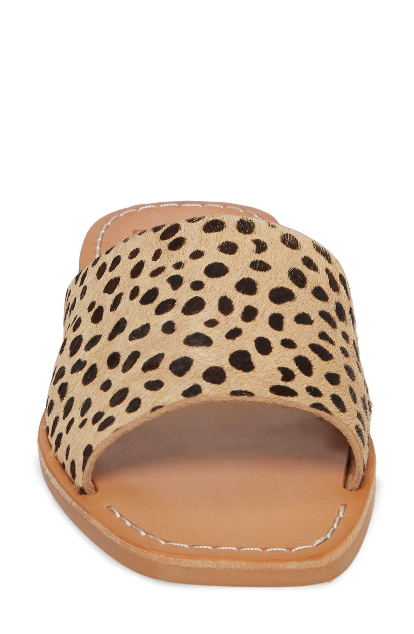 Cato Genuine Calf Hair Slide Sandal,                             Alternate thumbnail 4, color,                             Leopard Calf Hair