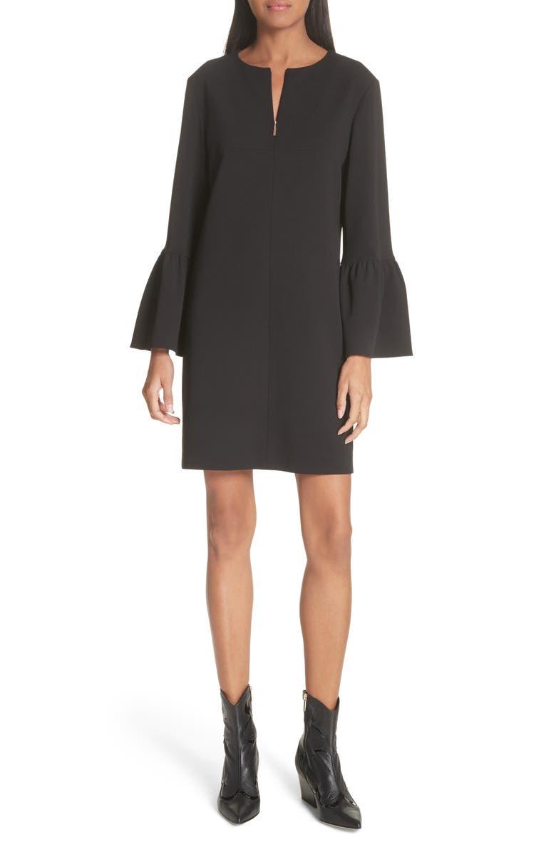 Ruffle Sleeve Crepe Shift Dress