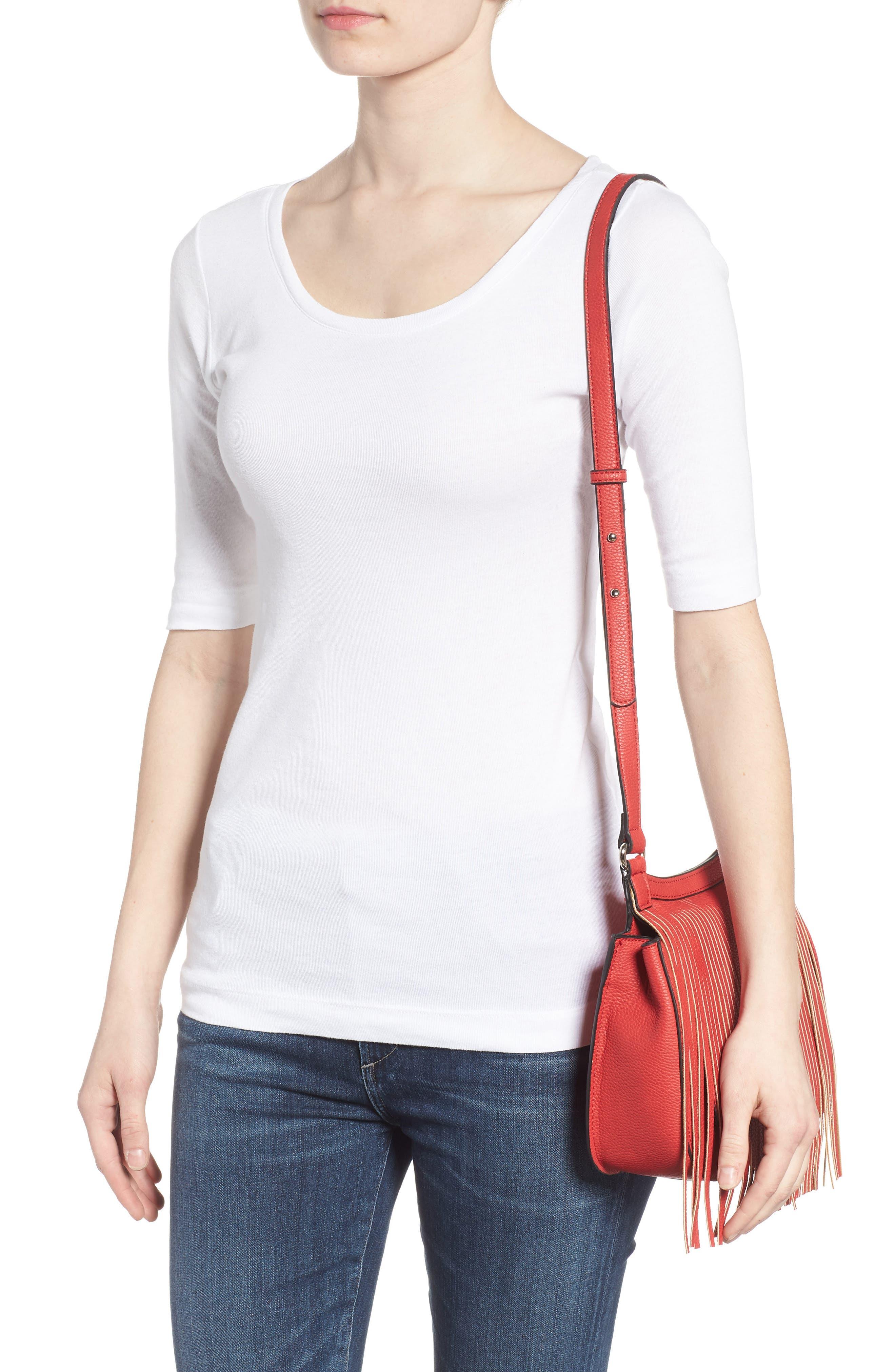 Mini Laine Fringe Crossbody Bag,                             Alternate thumbnail 2, color,                             Red