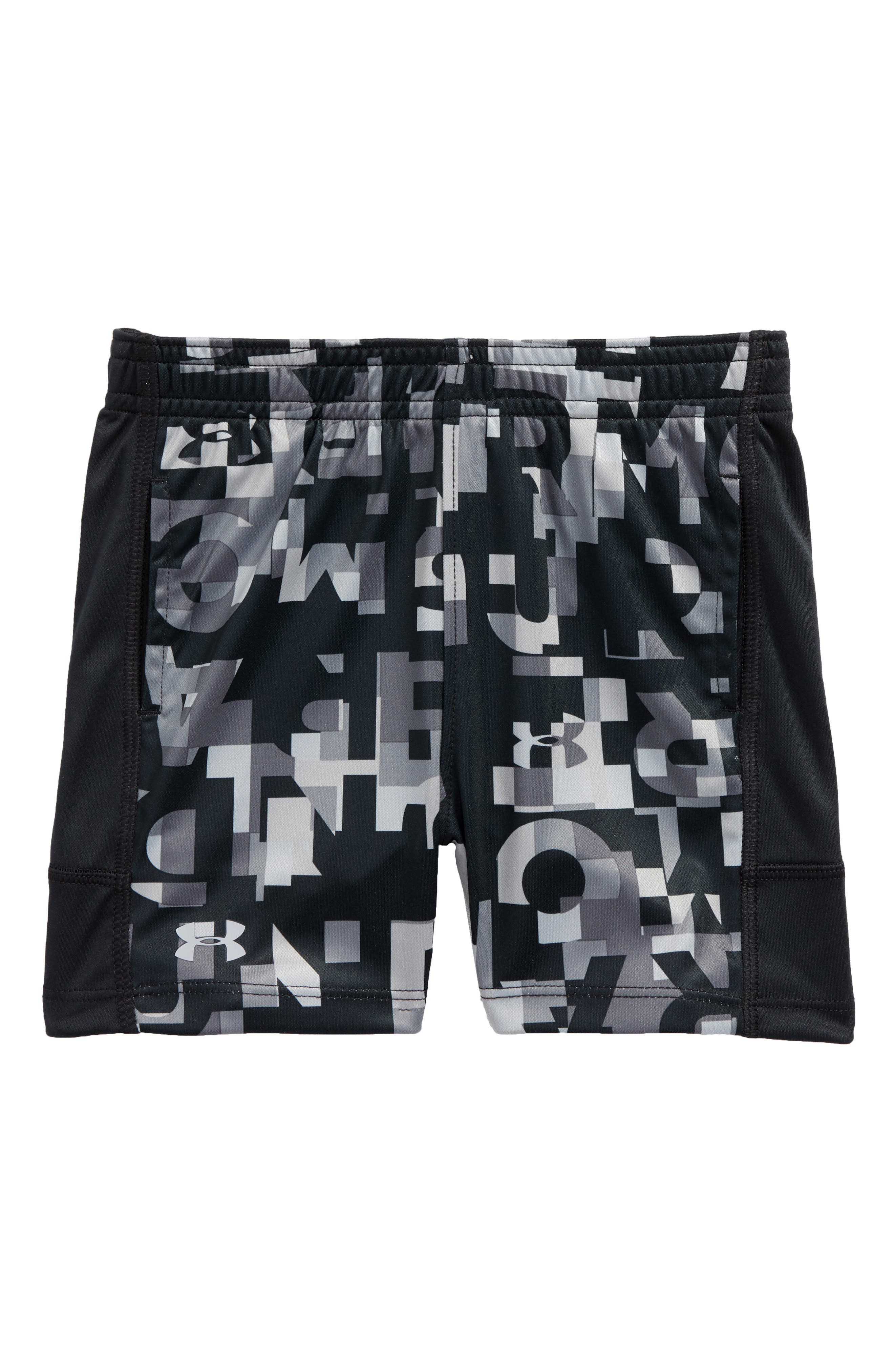 Wordmark Stunt Athletic HeatGear<sup>®</sup> Shorts,                             Main thumbnail 1, color,                             Anthracite