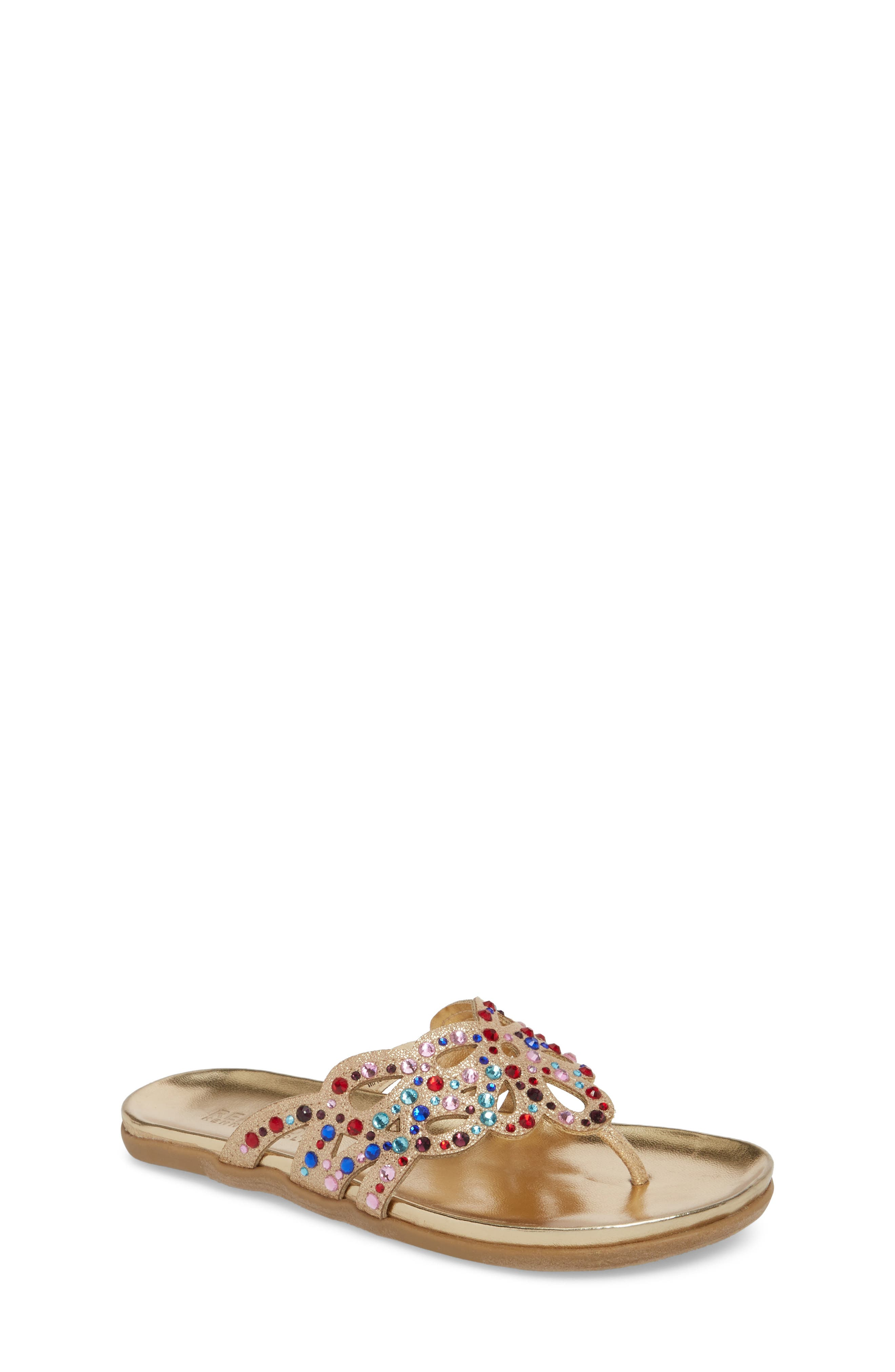 Kenneth Cole New York Flutter Metallic Crystal Thong Sandal,                             Main thumbnail 1, color,                             Gold Multi