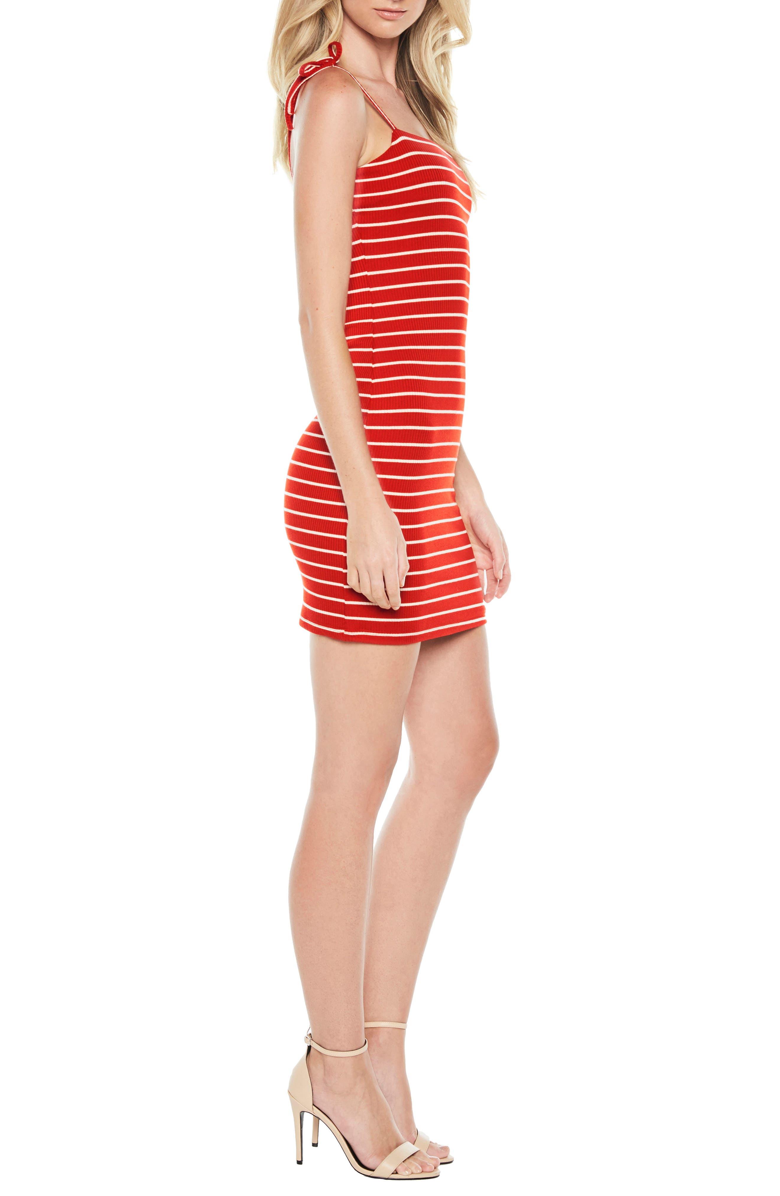 Romy Tie Strap Tube Dress,                             Alternate thumbnail 3, color,                             Red/ White Stripe