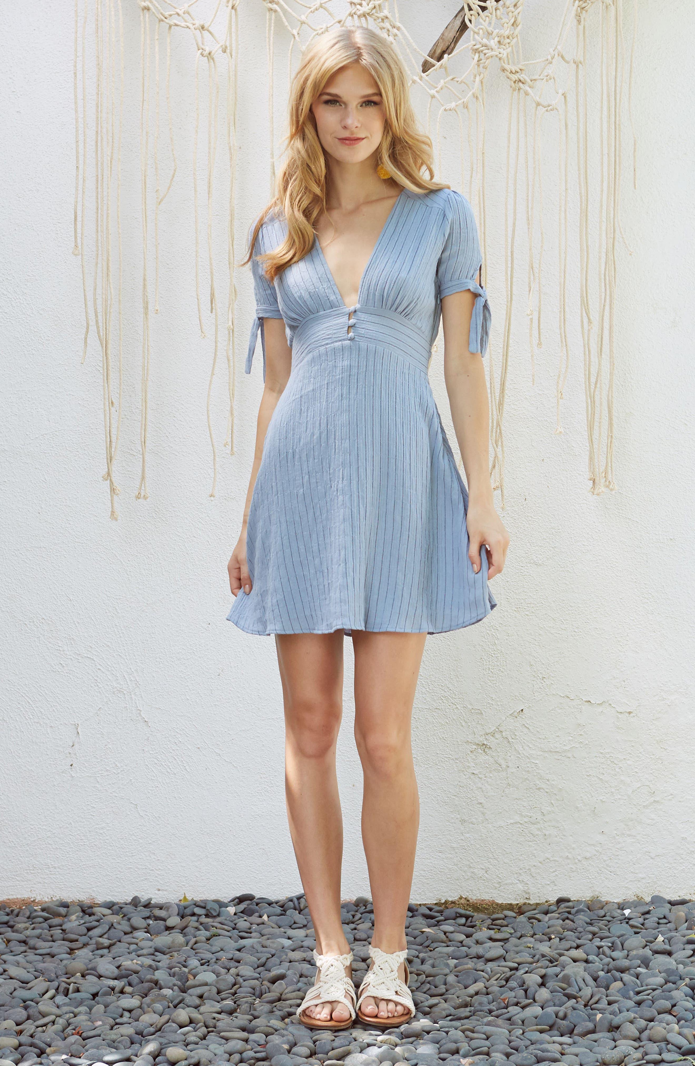 Sky Stripe Tie Sleeve Dress,                             Alternate thumbnail 2, color,                             Blue