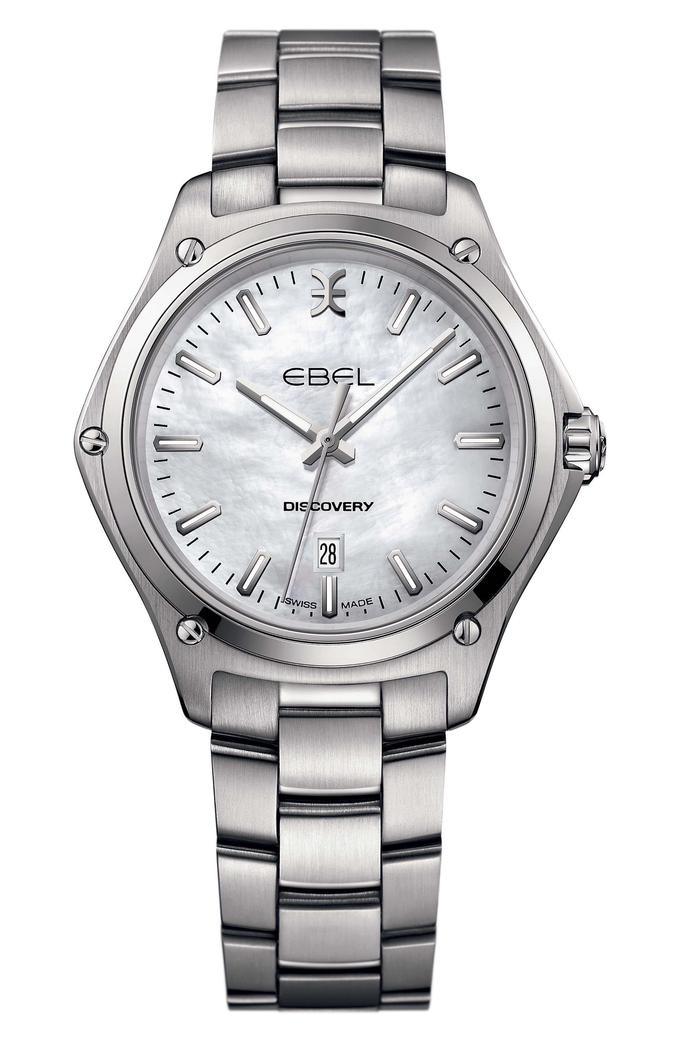 Discovery Bracelet Watch, 33mm,                             Main thumbnail 1, color,                             Silver/ Mop/ Silver