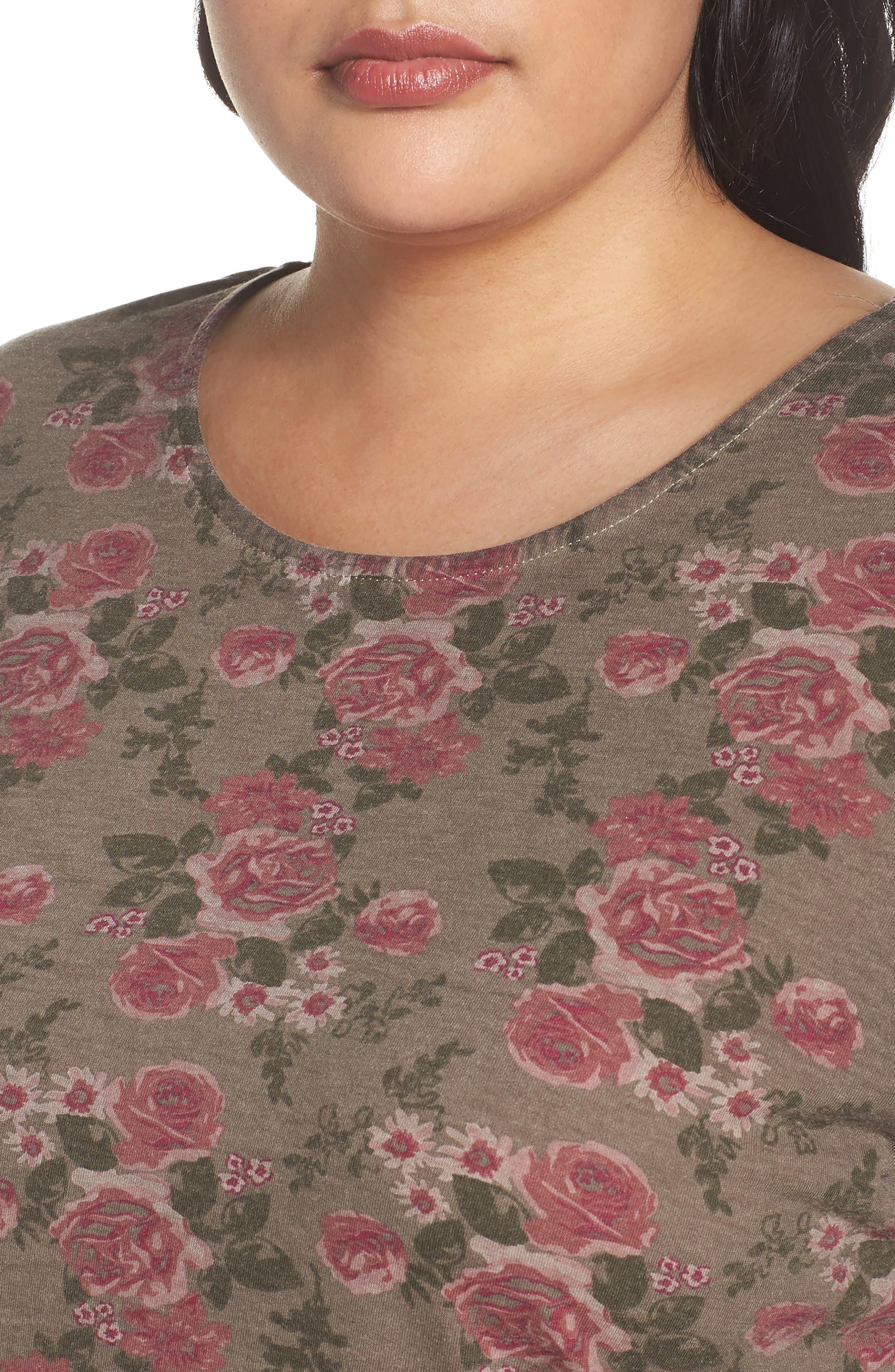 High/Low Oil Dye Floral Top,                             Alternate thumbnail 4, color,                             Moonrock