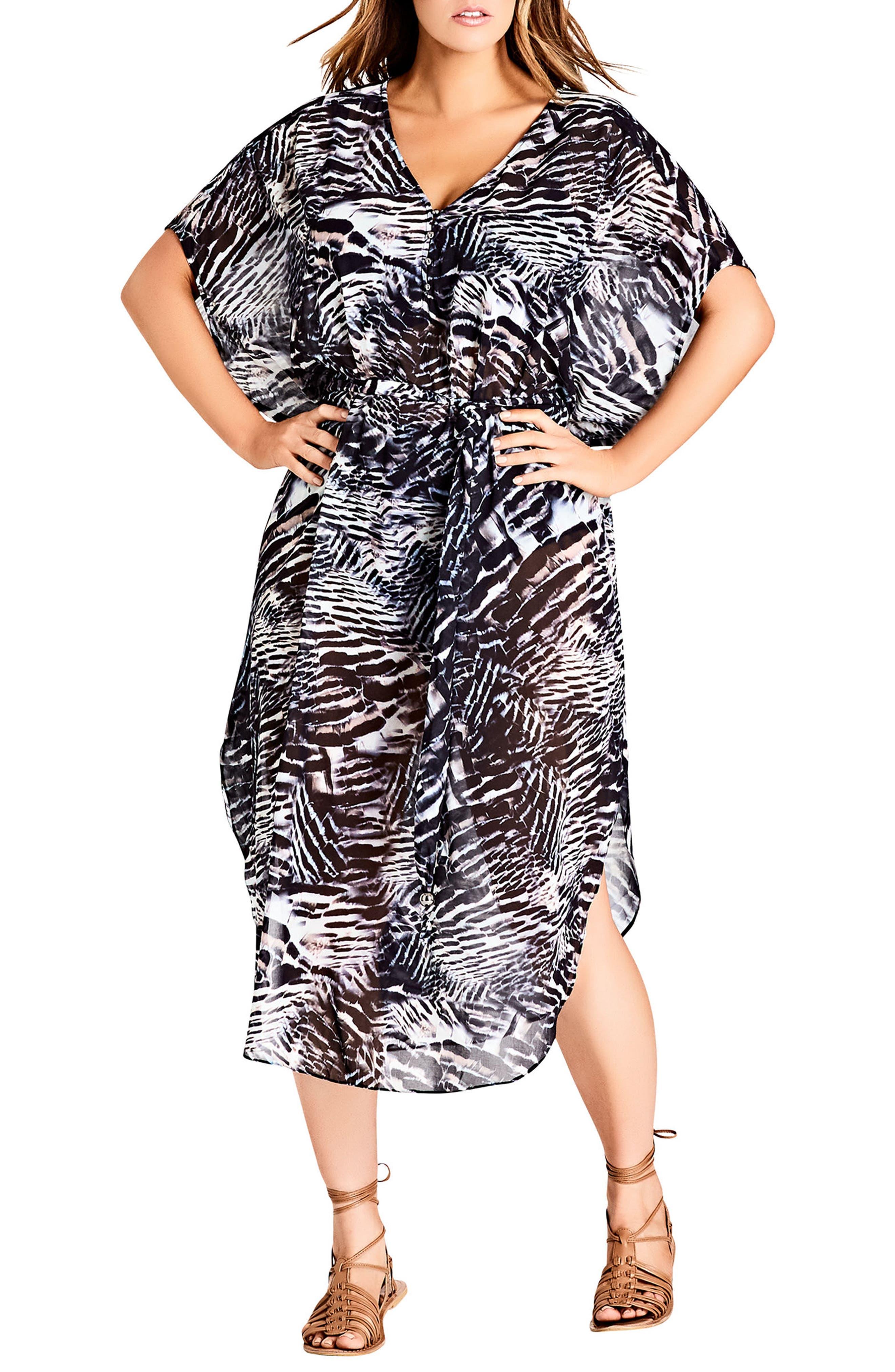 Sahara Caftan Dress,                         Main,                         color, Black Print