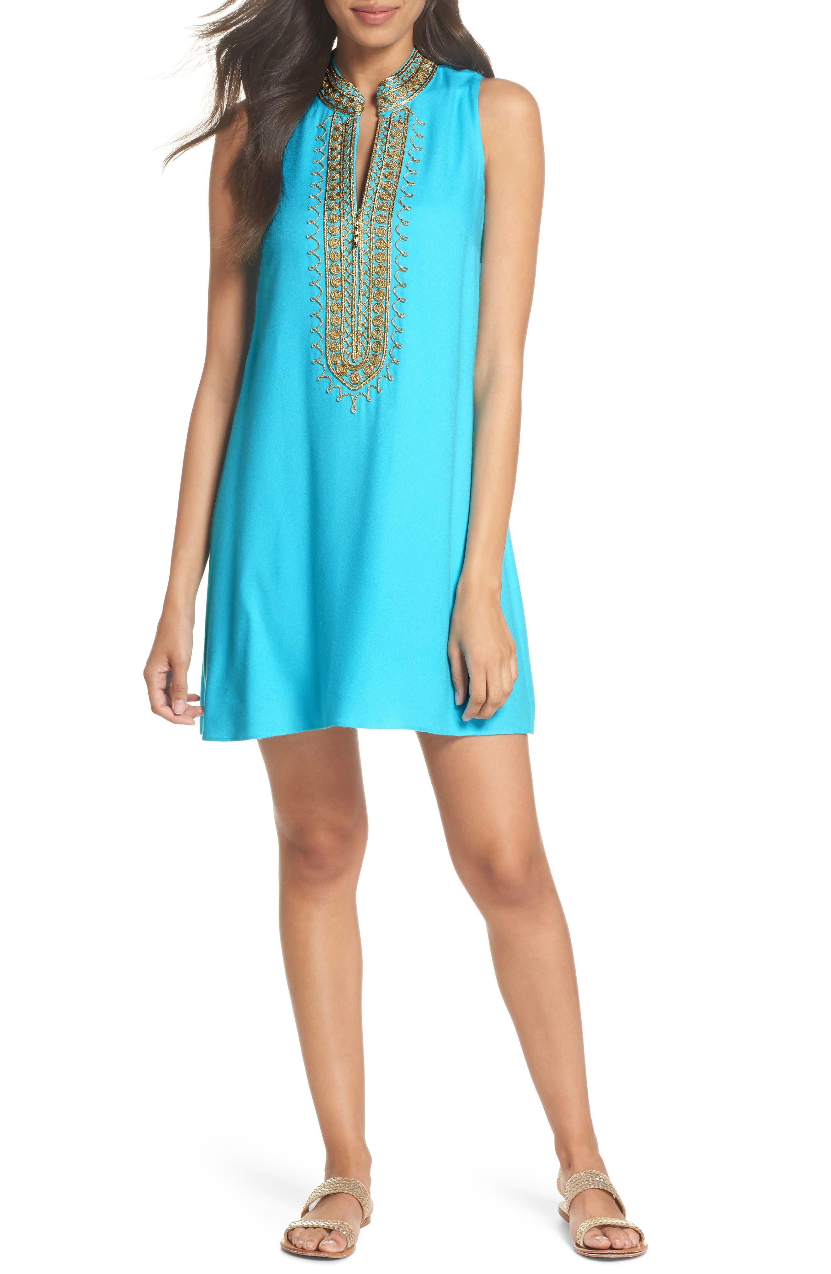 Jane Embroidered Shift Dress,                             Main thumbnail 1, color,                             Blue Ibiza