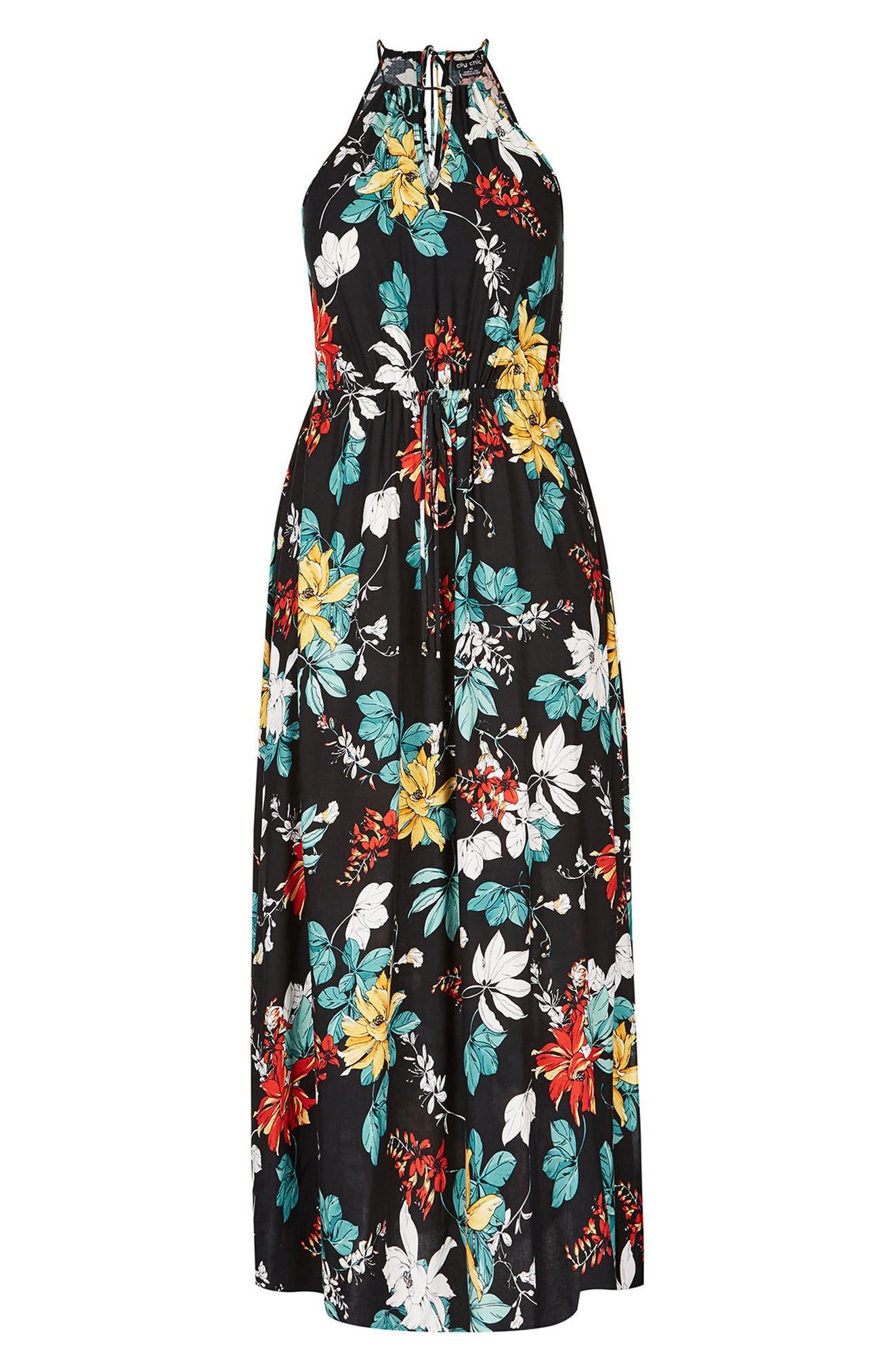 Tropical Night Maxi Dress,                             Alternate thumbnail 3, color,                             Tropic Night