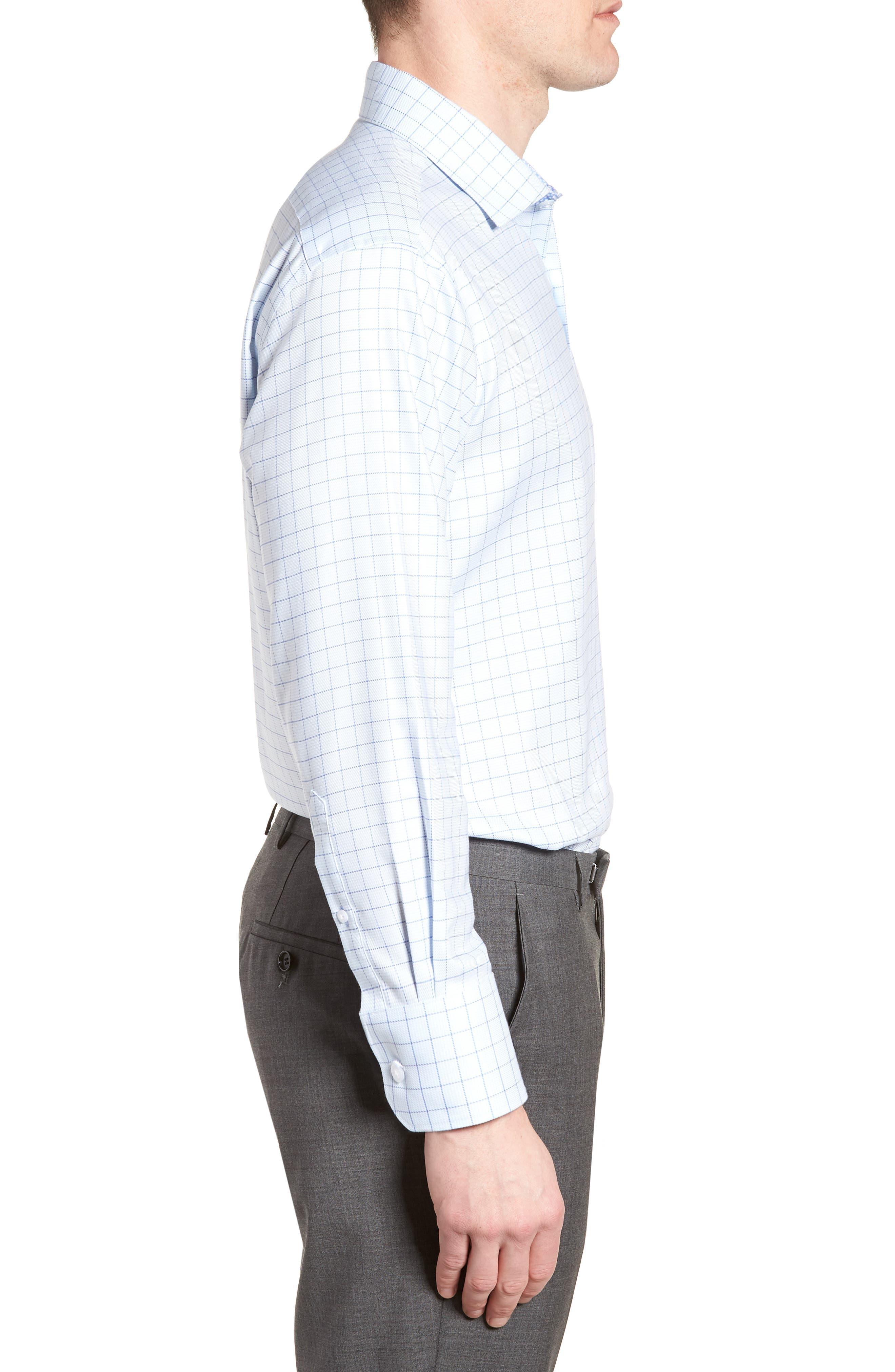 Alec Trim Fit Check Dress Shirt,                             Alternate thumbnail 4, color,                             Light Blue
