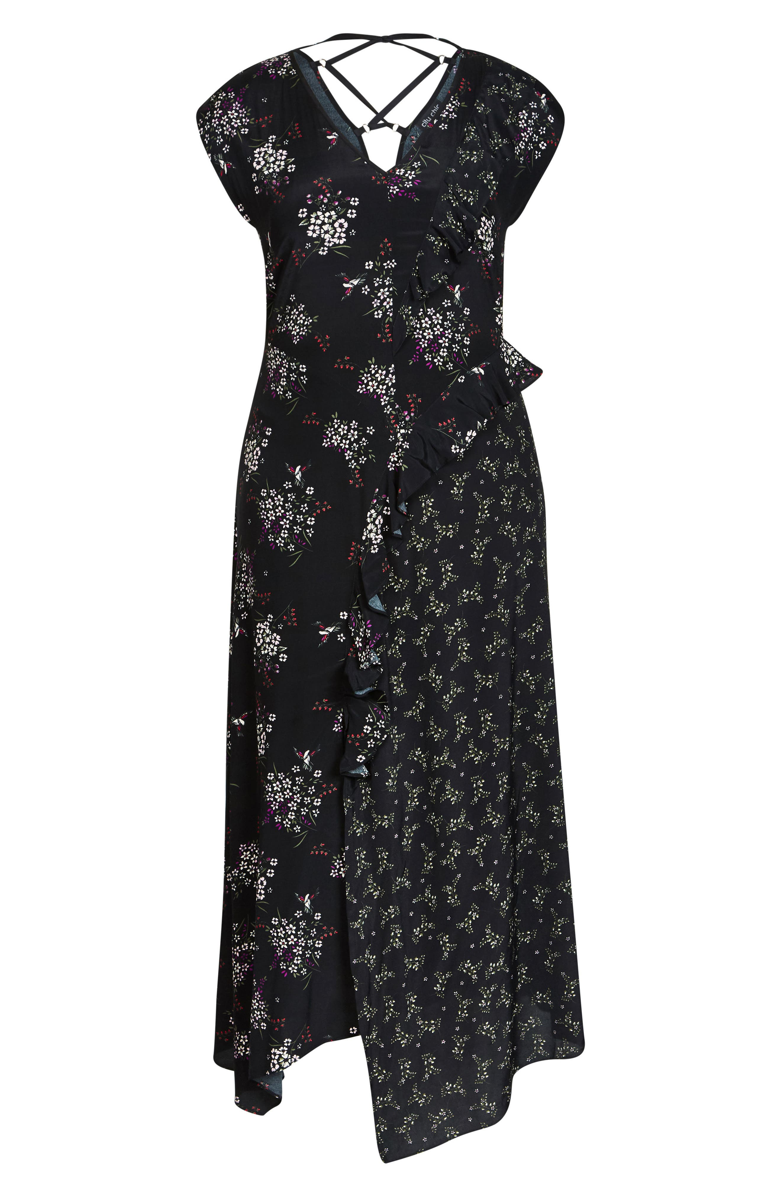 Asymmetric Paneled Maxi Dress,                             Alternate thumbnail 3, color,                             Floral Mix
