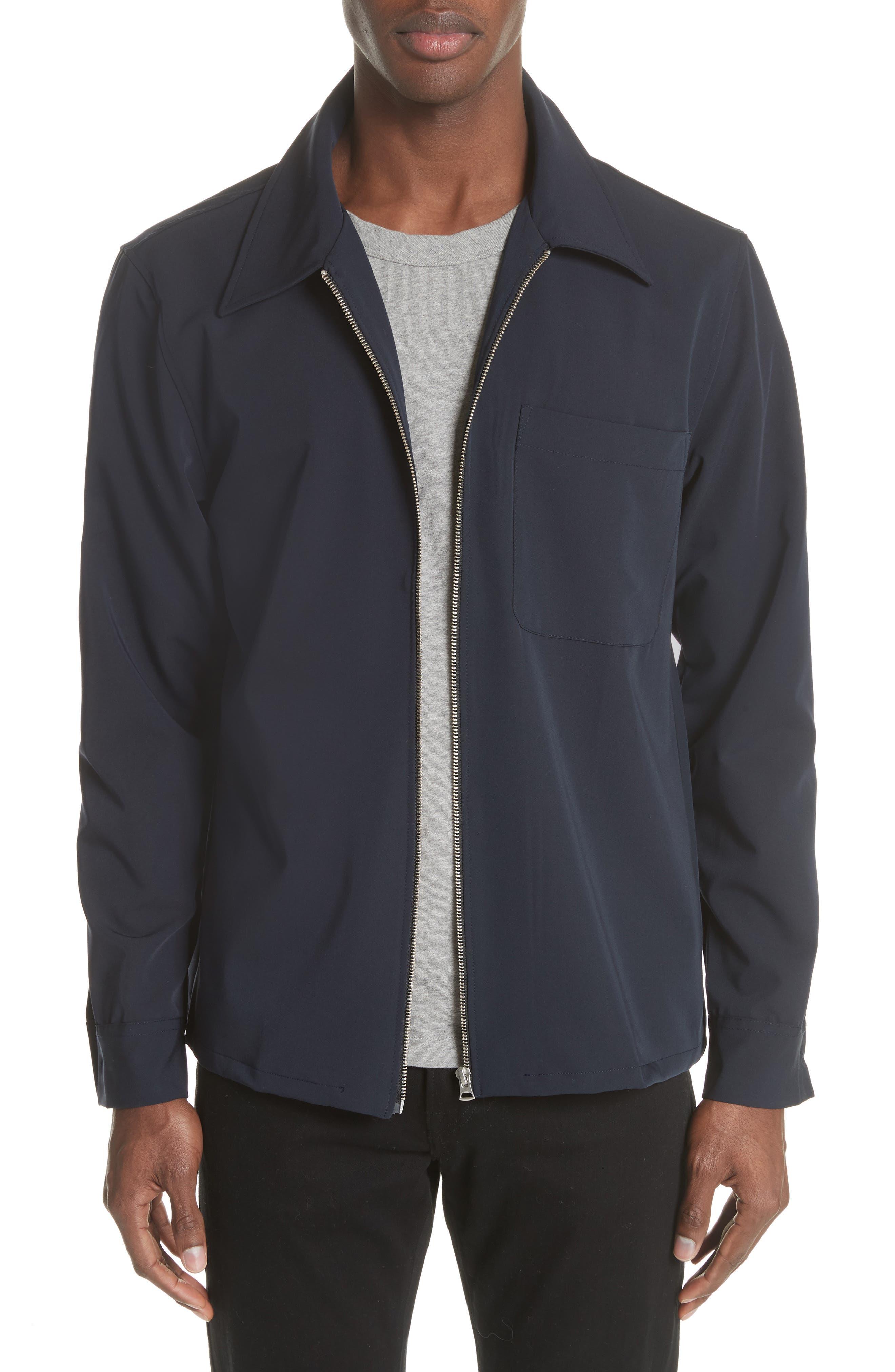 Gabardine Zip Shirt Jacket,                         Main,                         color, Navy