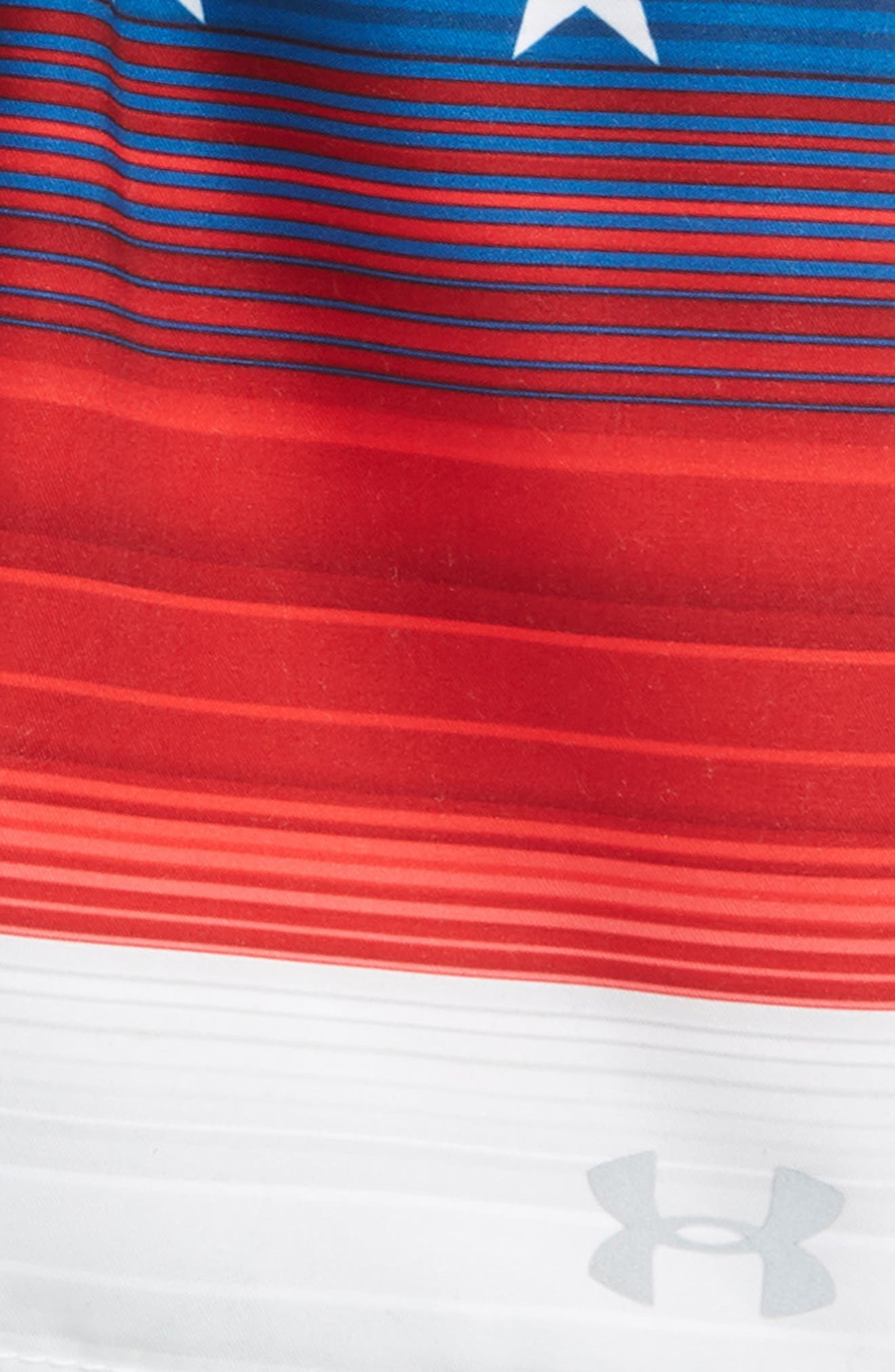 Americana Stripe Volley Swim Trunks,                             Alternate thumbnail 2, color,                             Red