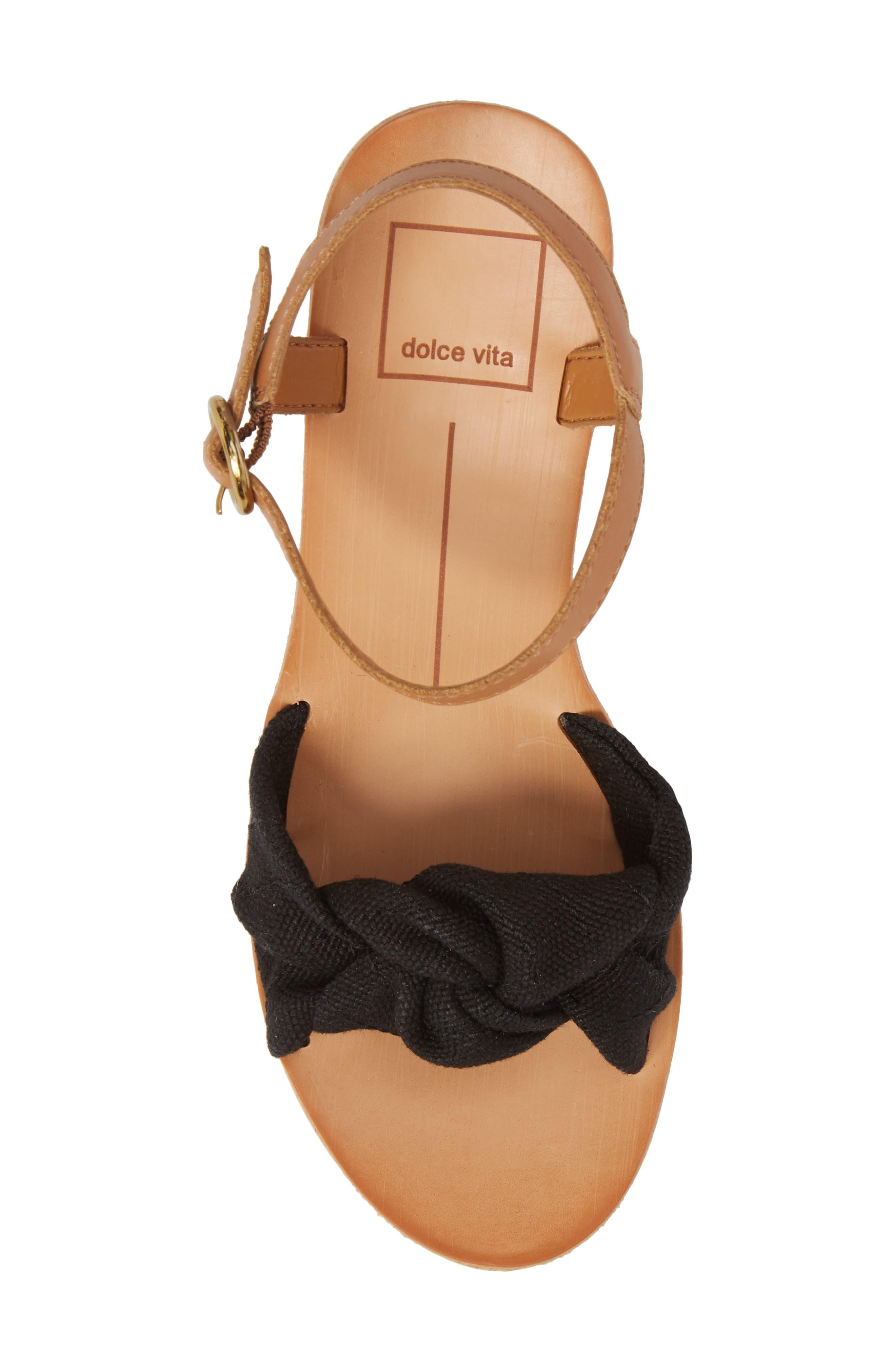 Shia Knotted Platform Sandal,                             Alternate thumbnail 5, color,                             Black Linen