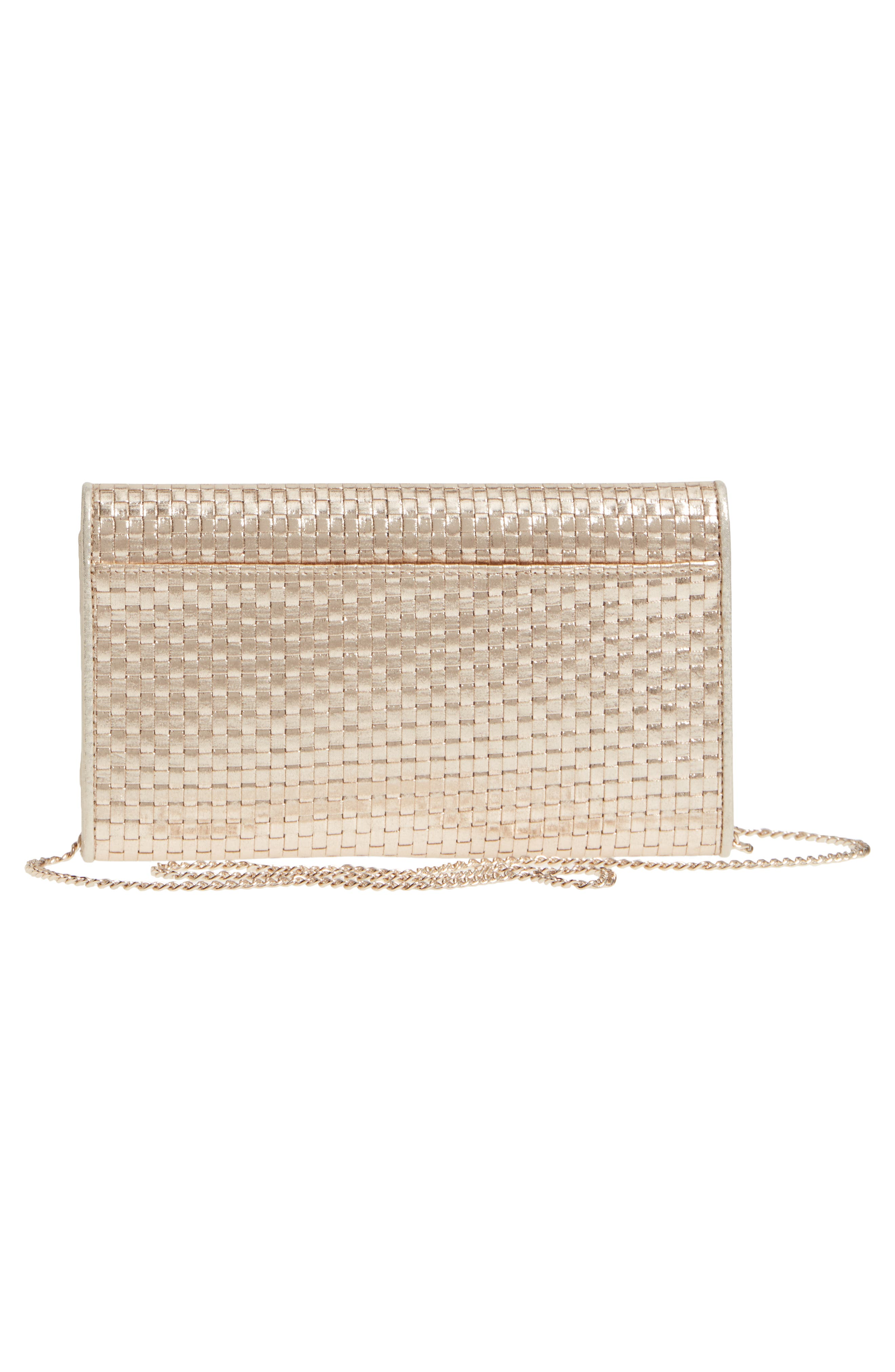 Alternate Image 3  - Nordstrom Woven Faux Leather Metallic Clutch