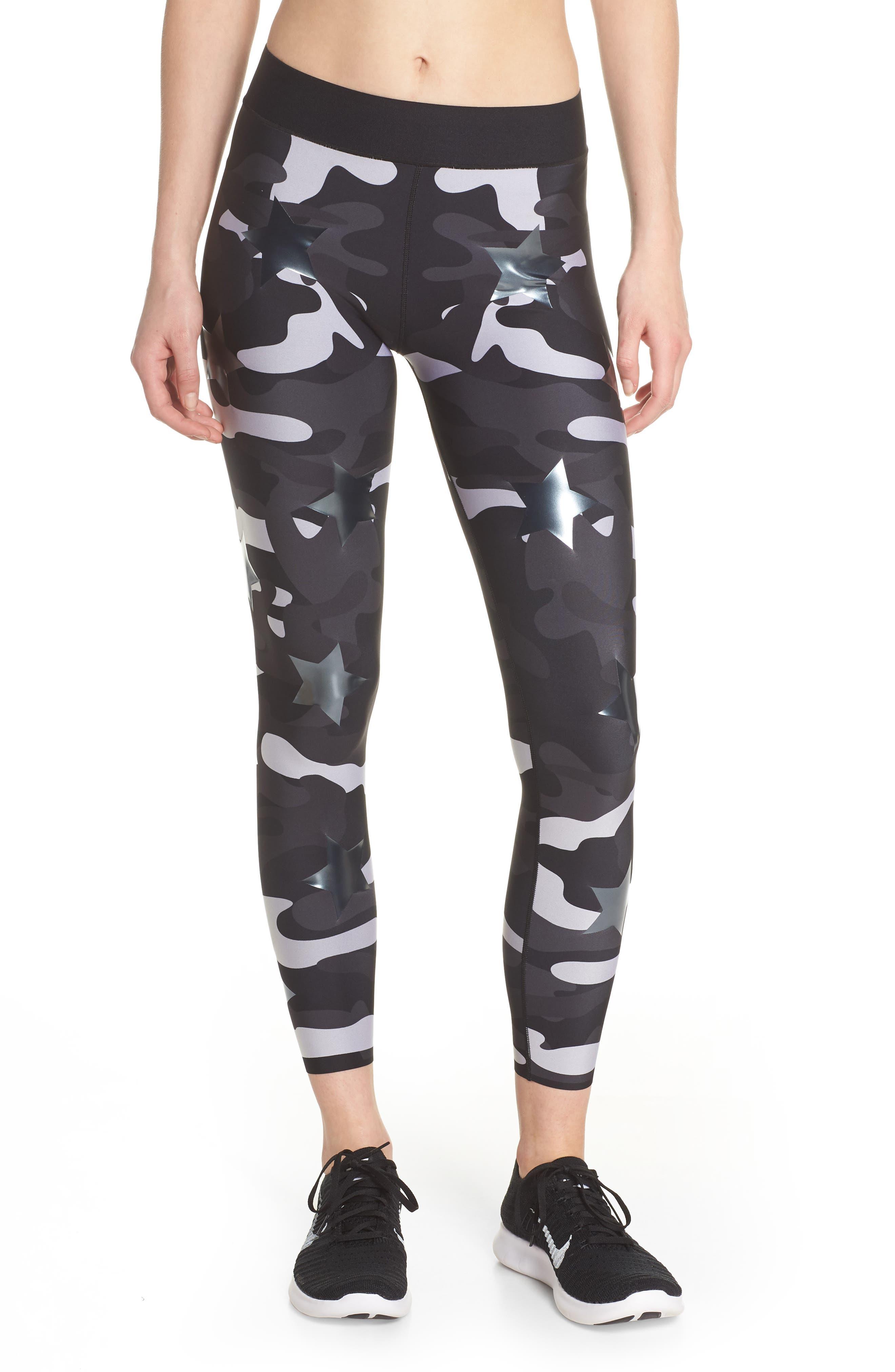 Ultra Silk Camo Knockout Leggings,                         Main,                         color, White/ Gunmetal