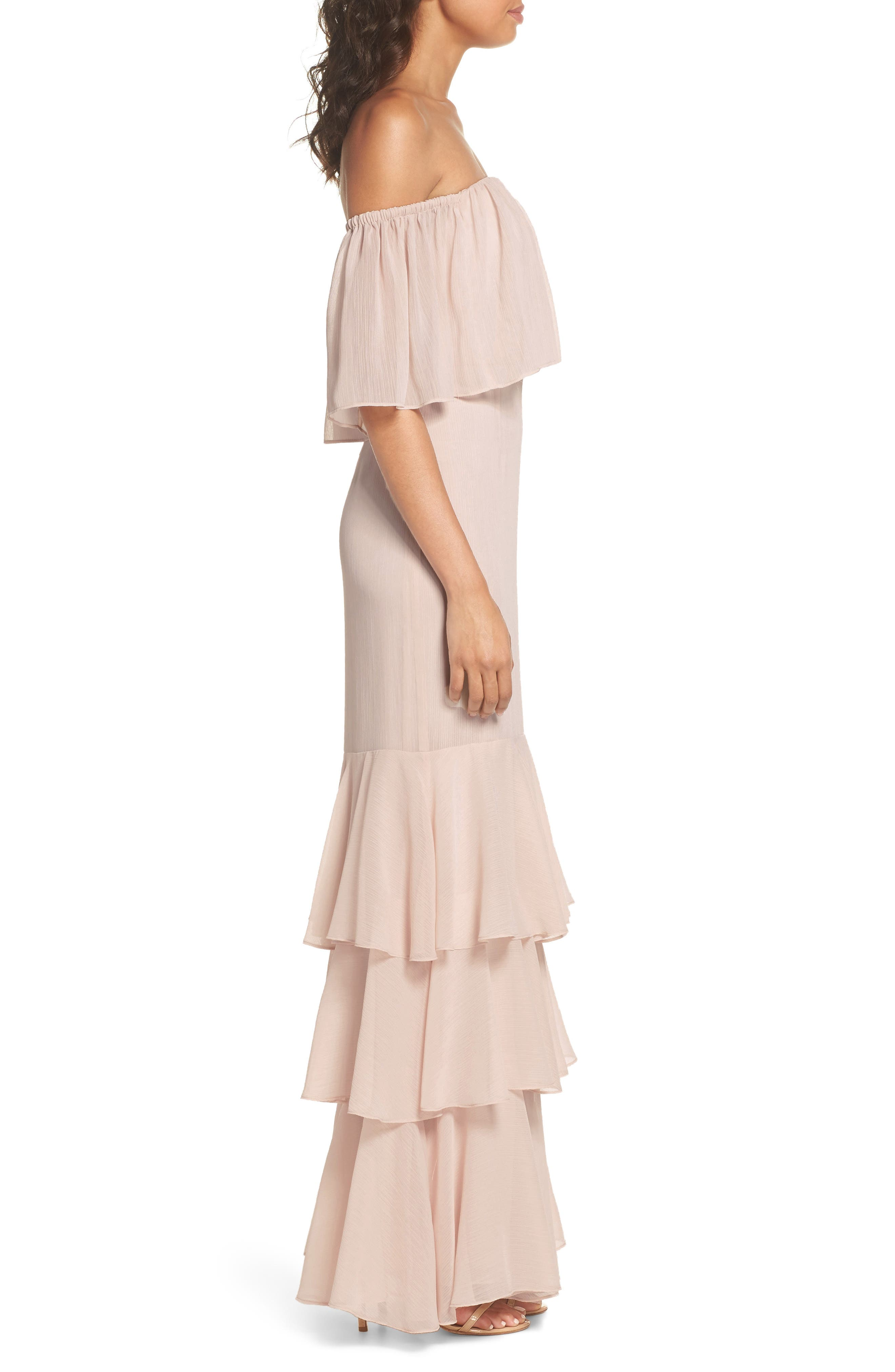 Penelope Off the Shoulder Popover Gown,                             Alternate thumbnail 3, color,                             Champagne
