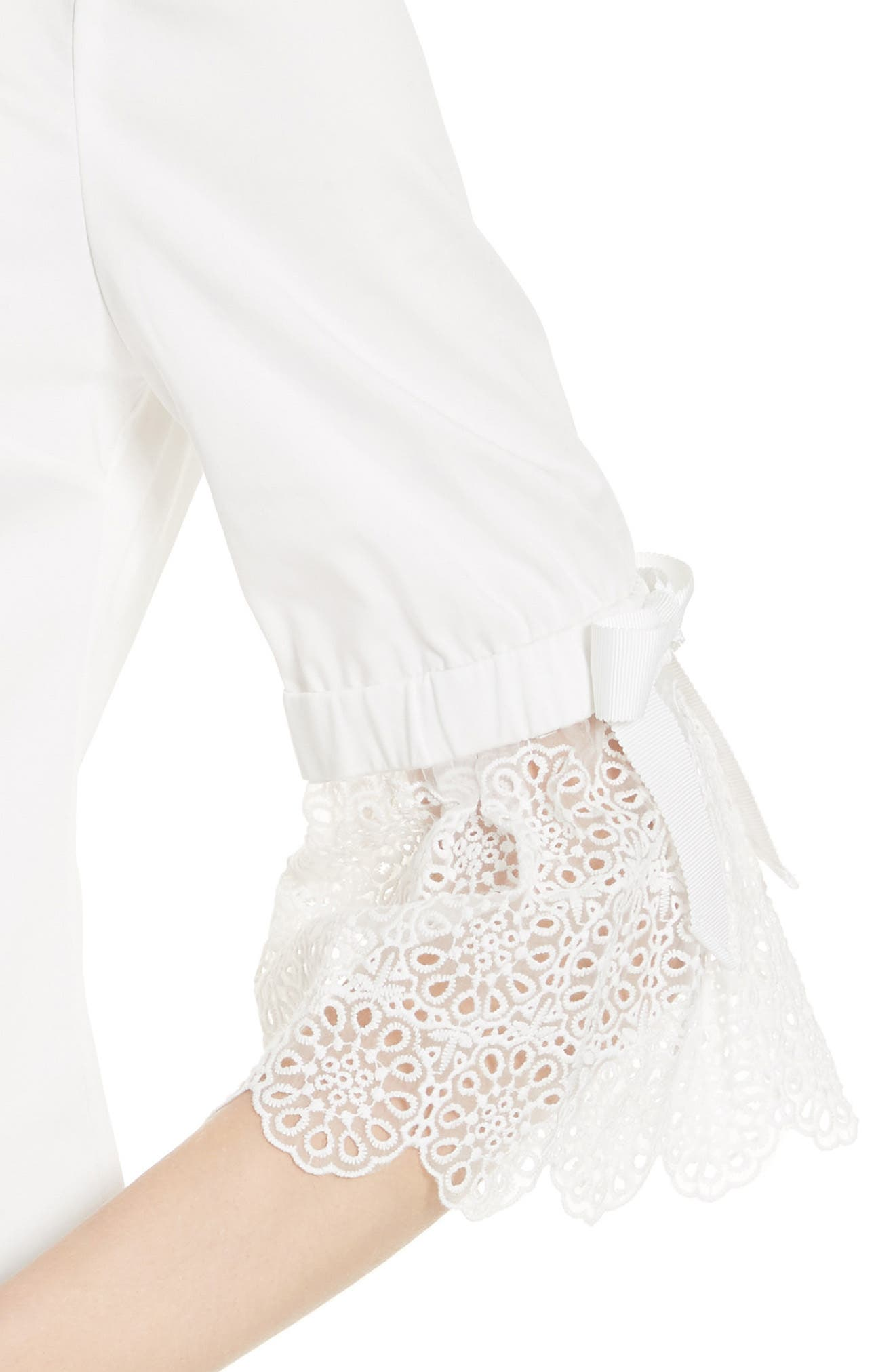 Broderie Lace Bow Sleeve Top,                             Alternate thumbnail 4, color,                             White