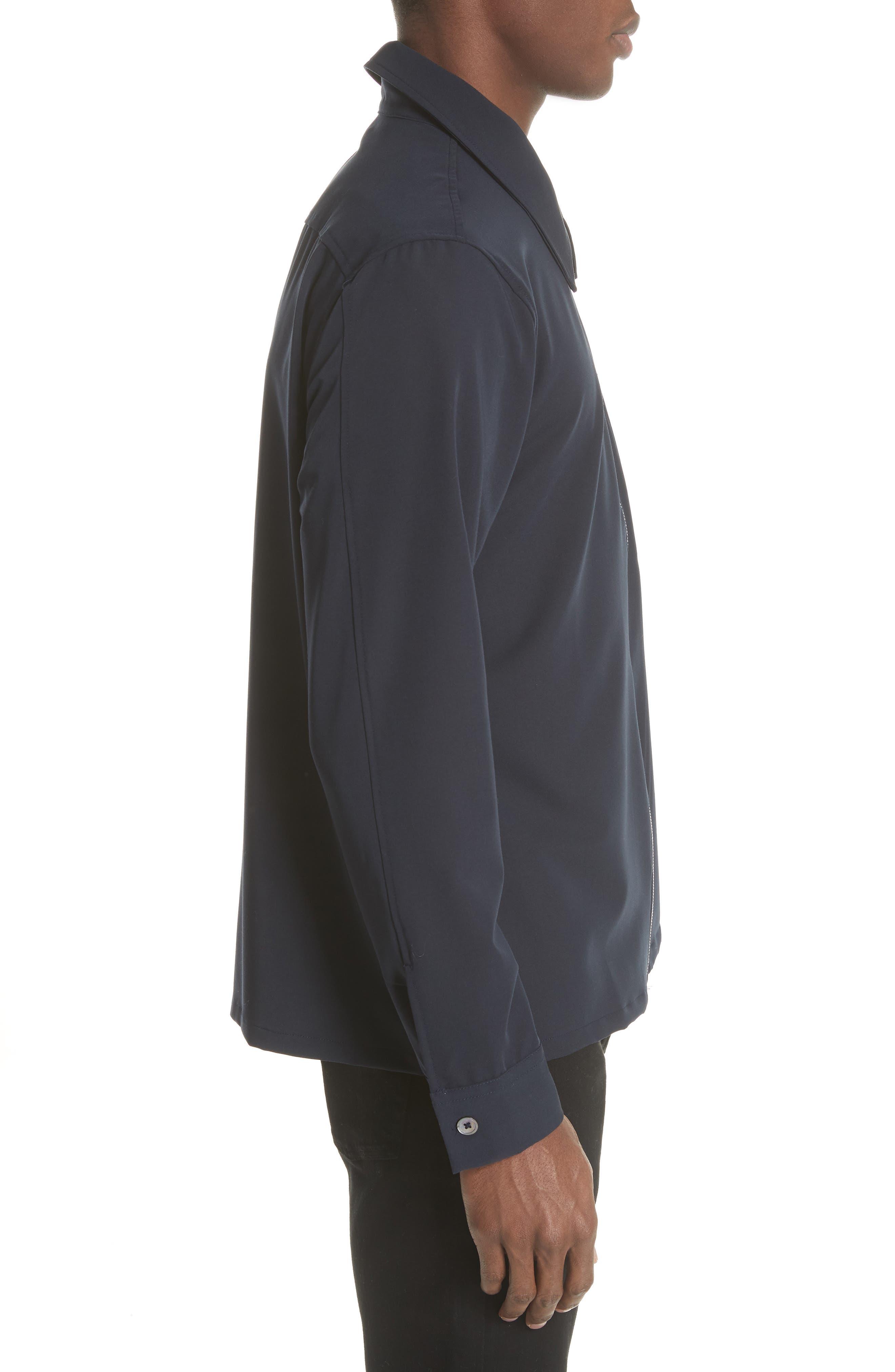 Gabardine Zip Shirt Jacket,                             Alternate thumbnail 3, color,                             Navy