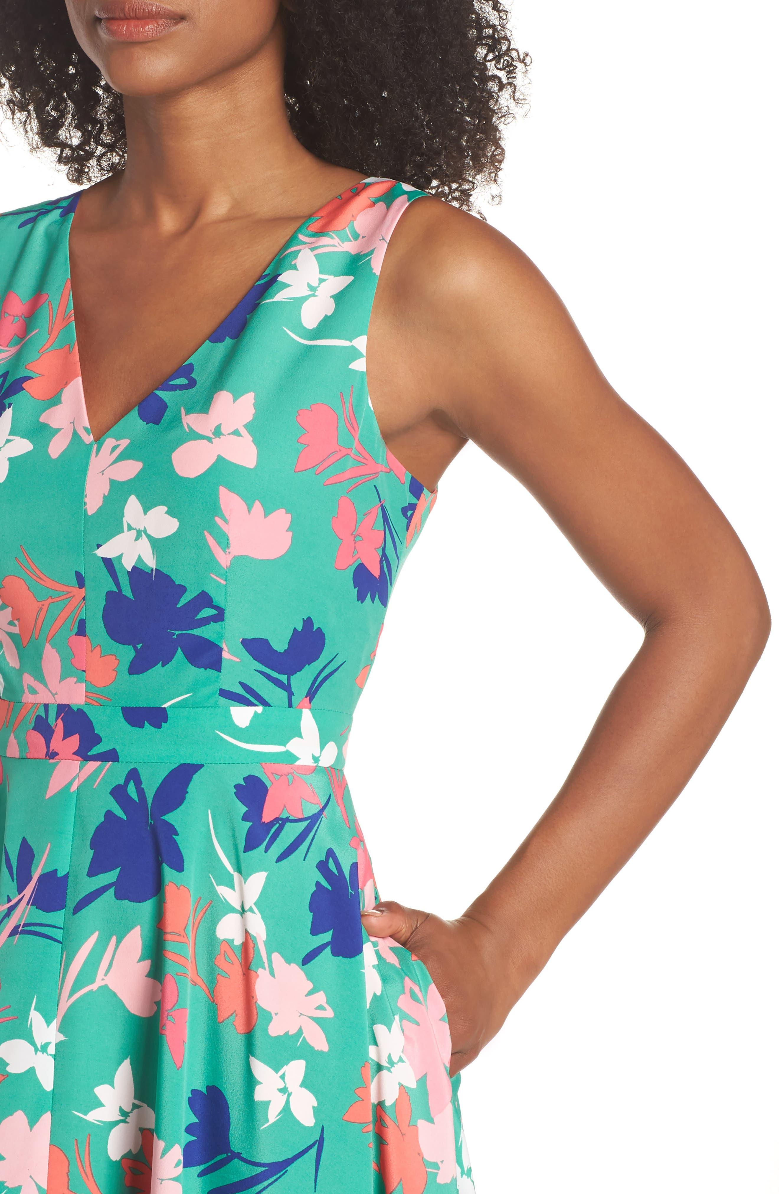 Floral Asymmetric Hem Midi Dress,                             Alternate thumbnail 4, color,                             Green