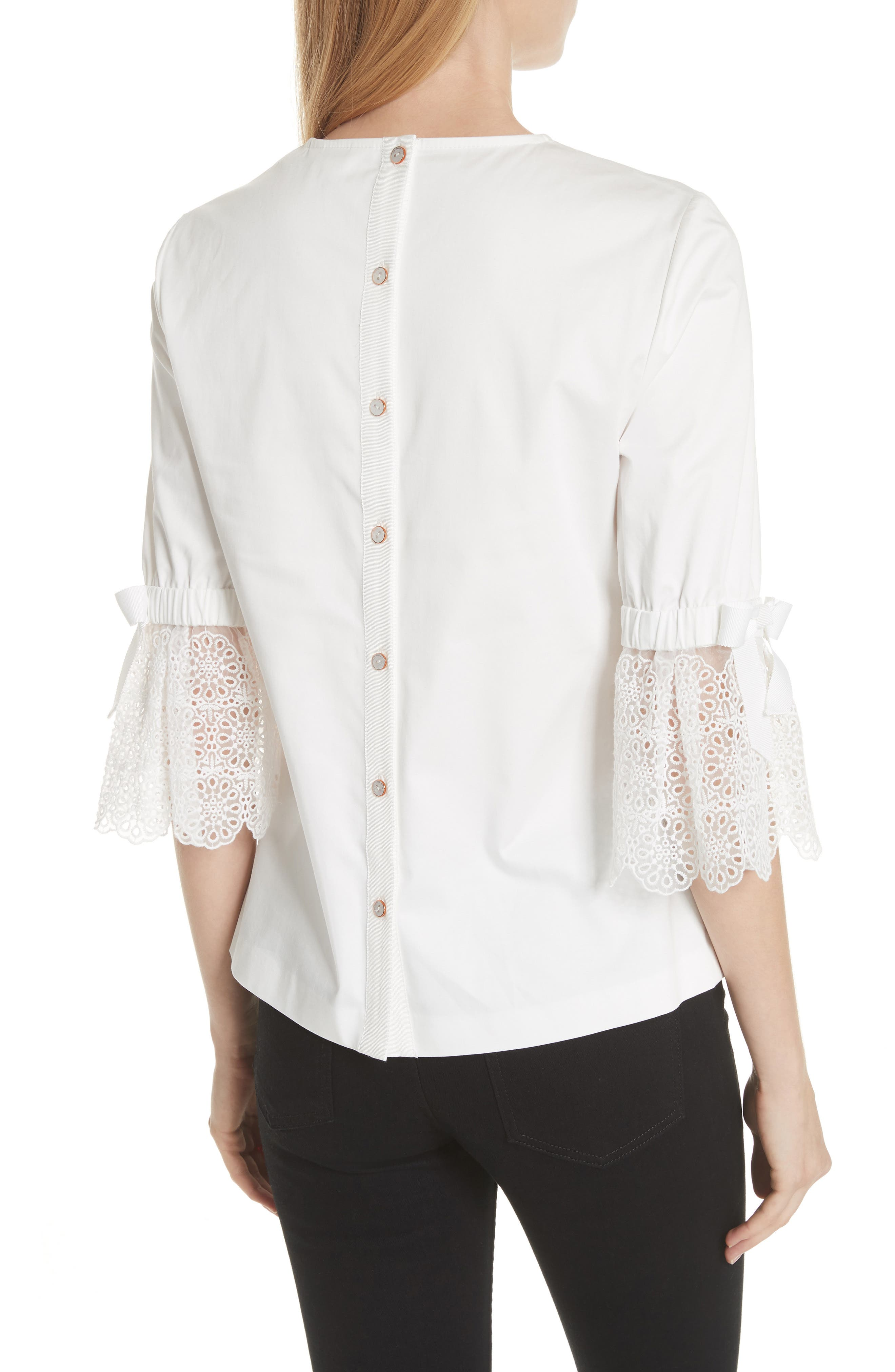 Broderie Lace Bow Sleeve Top,                             Alternate thumbnail 2, color,                             White