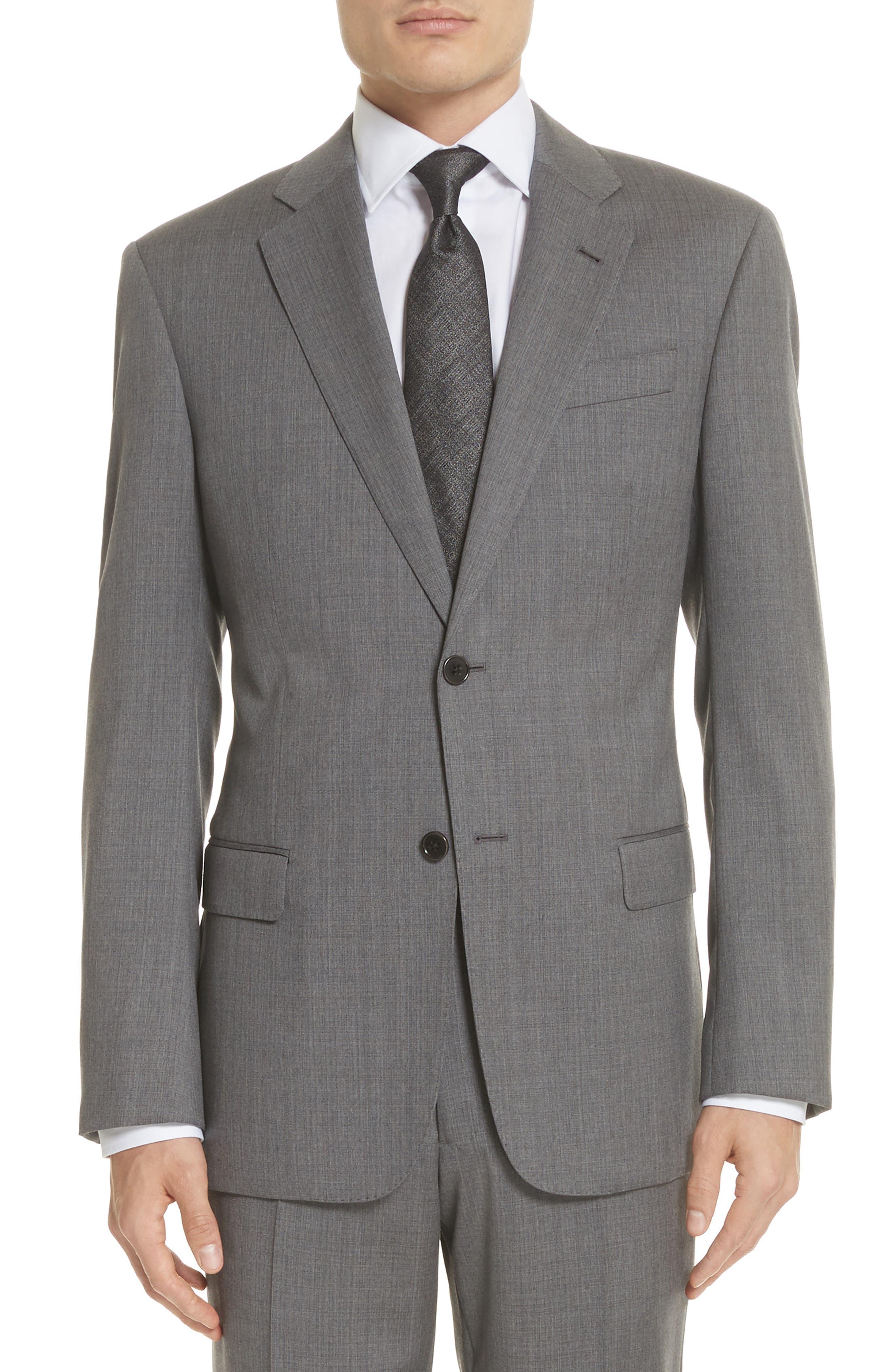 Trim Fit Sharkskin Wool Suit,                             Alternate thumbnail 5, color,                             Grey