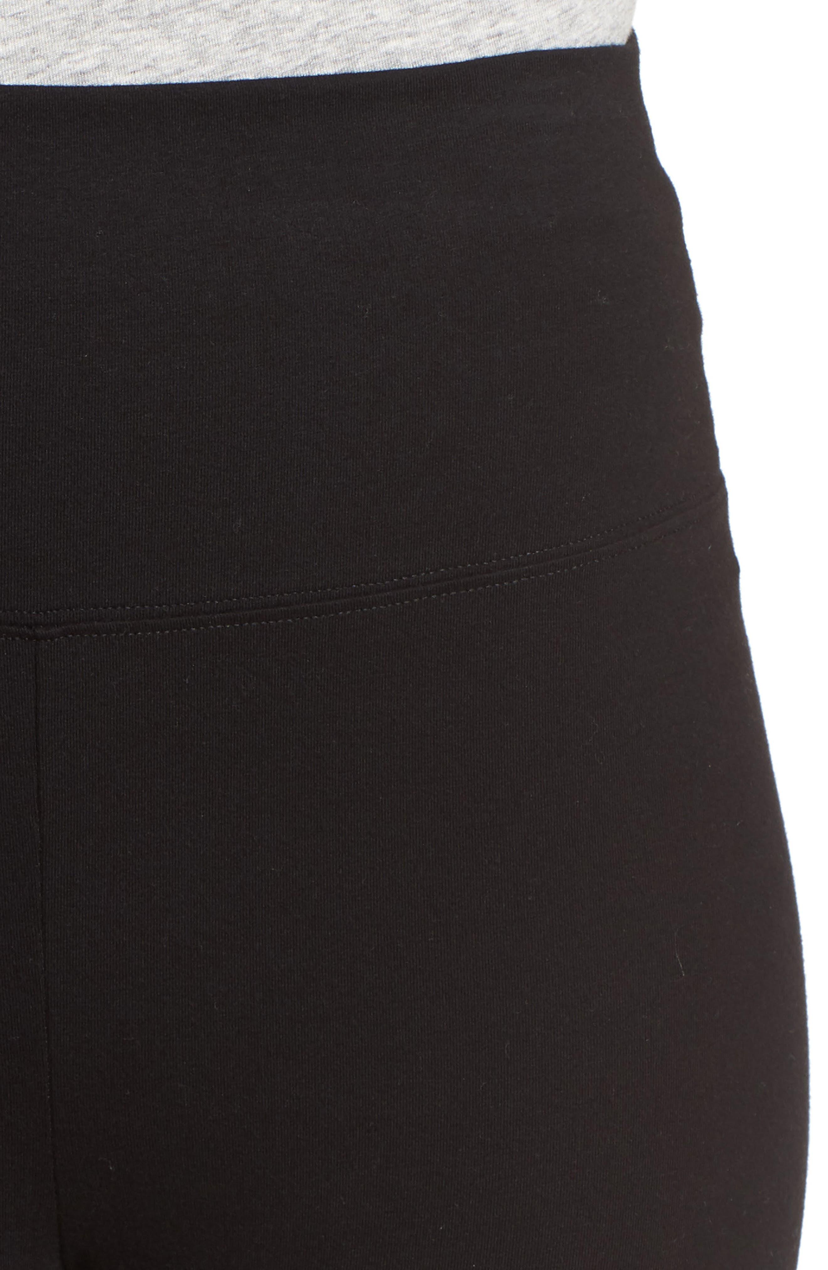 High Waist Crop Leggings,                             Alternate thumbnail 4, color,                             Black