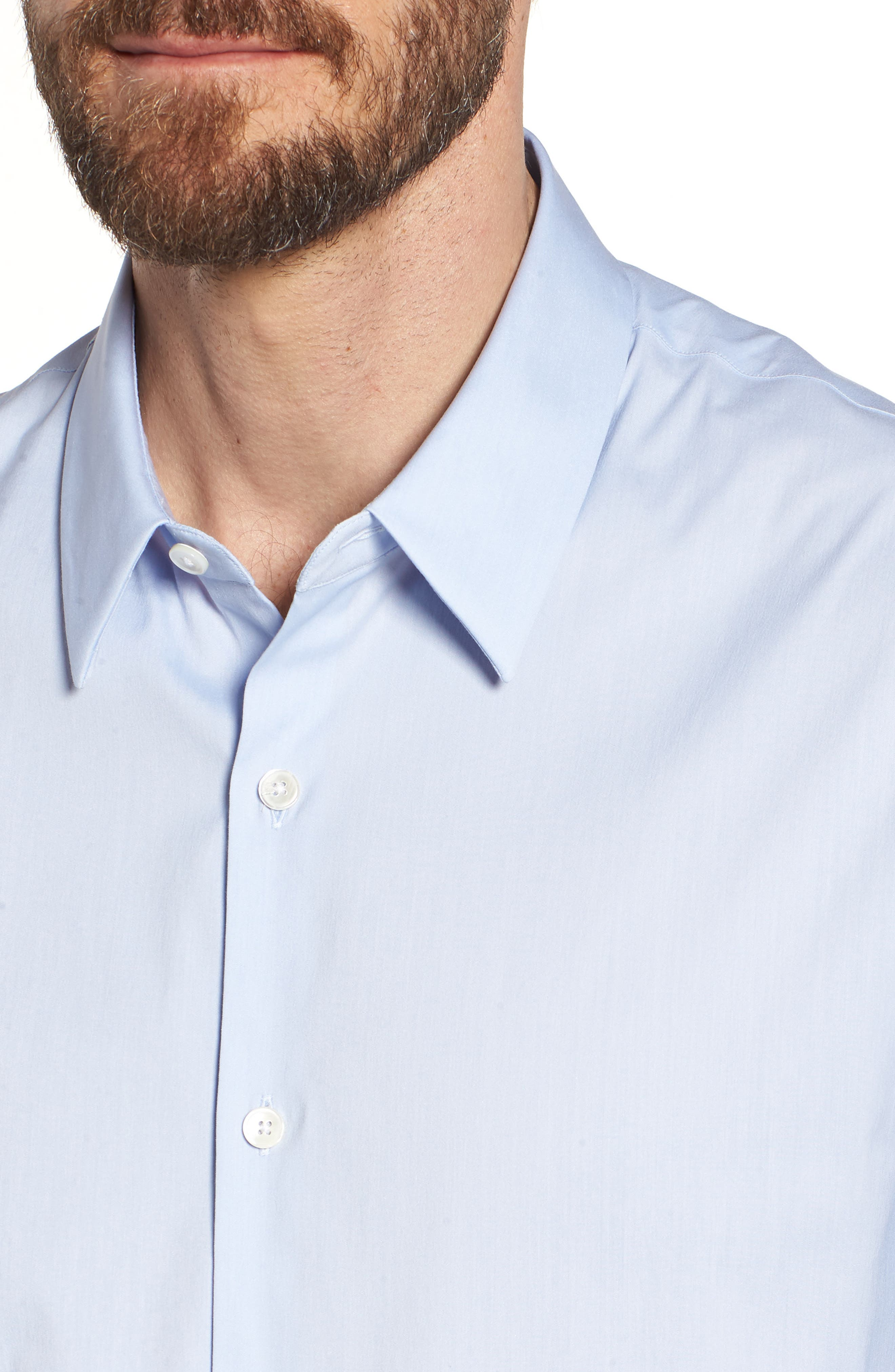 Matte Stretch Poplin Sport Shirt,                             Alternate thumbnail 4, color,                             Blue