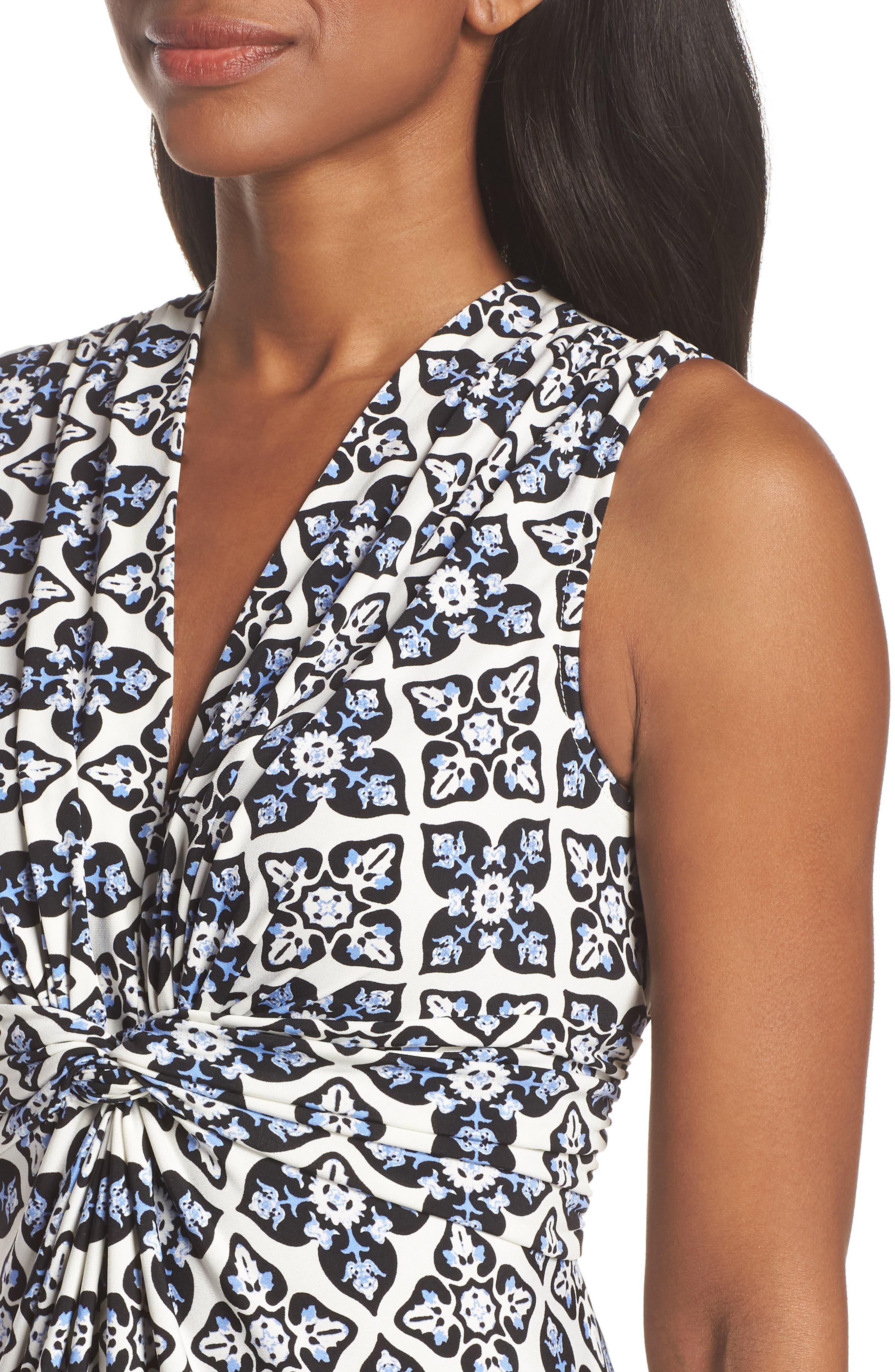 Knot Detail Jersey Maxi Dress,                             Alternate thumbnail 4, color,                             Blue/ White