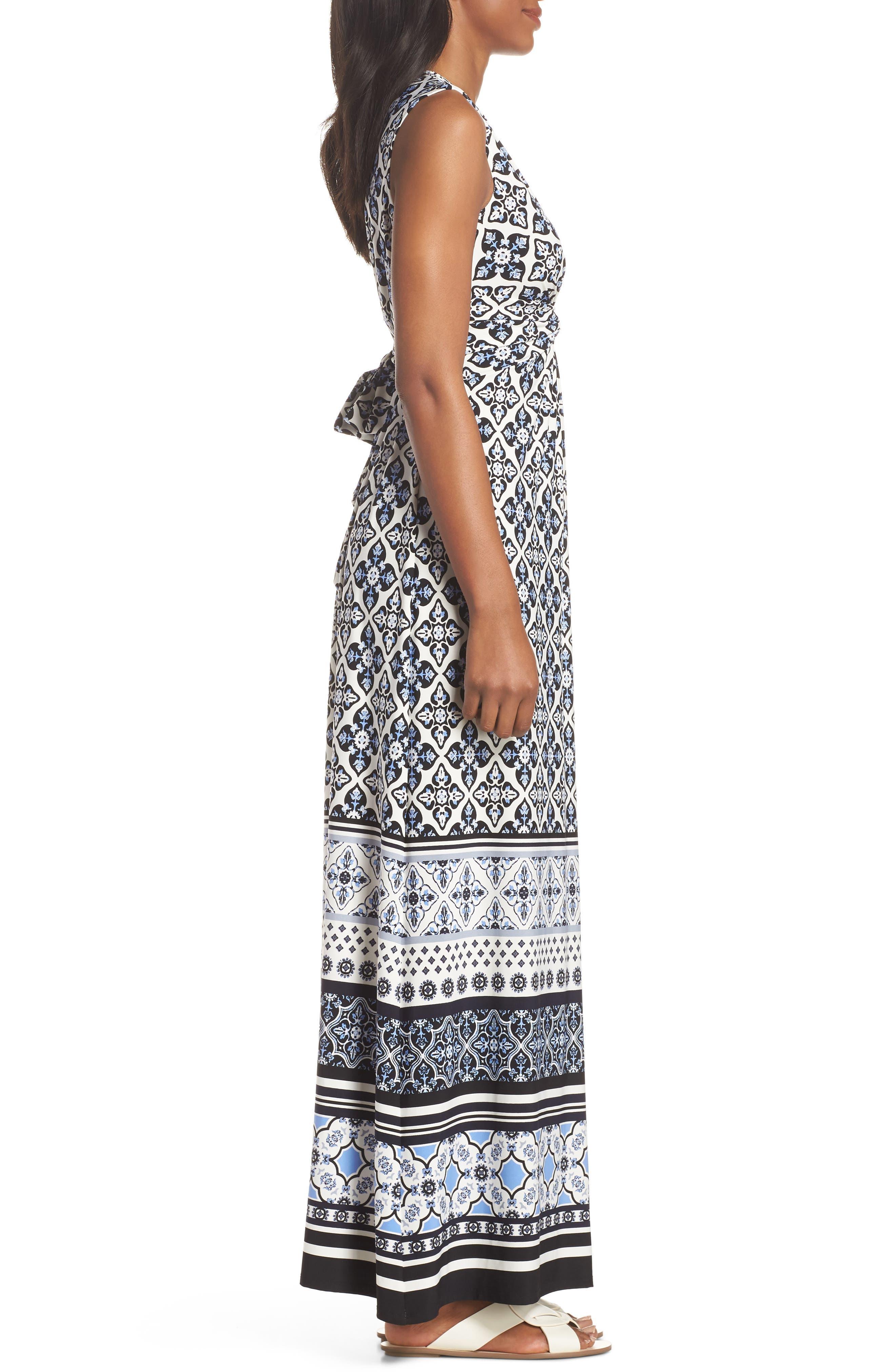 Knot Detail Jersey Maxi Dress,                             Alternate thumbnail 3, color,                             Blue/ White