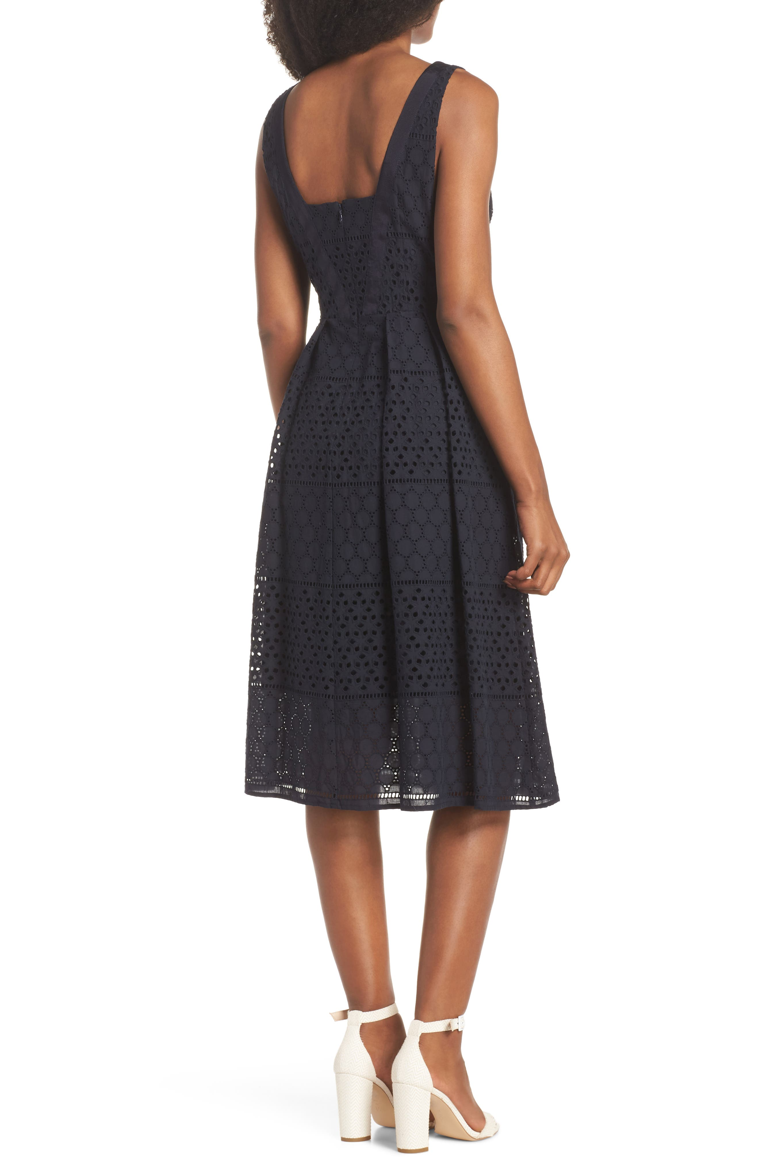 V-Neck Cotton Eyelet Fit & Flare Dress,                             Alternate thumbnail 2, color,                             Navy
