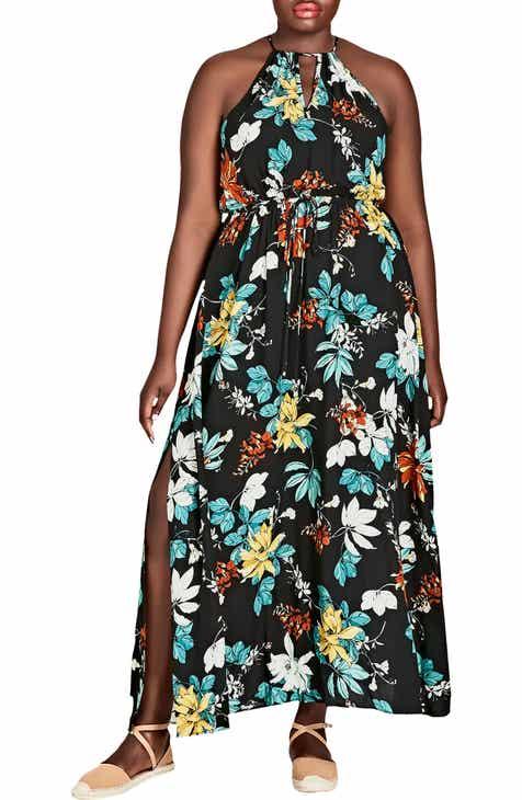 e209b3be5a90a City Chic Tropical Night Maxi Dress (Plus Size)