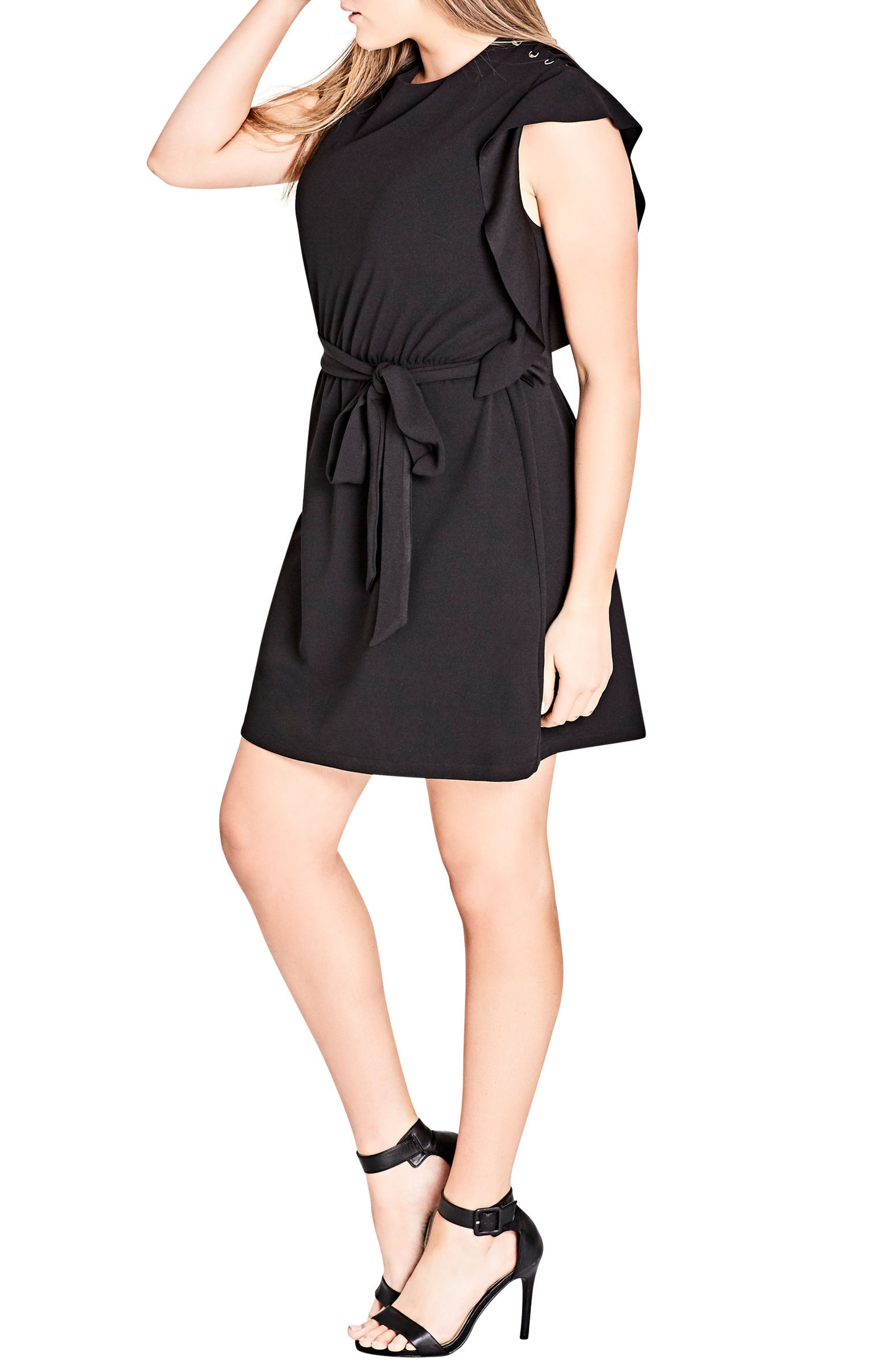 Alternate Image 3  - City Chic Ring Me Ruffle Tunic Dress (Plus Size)
