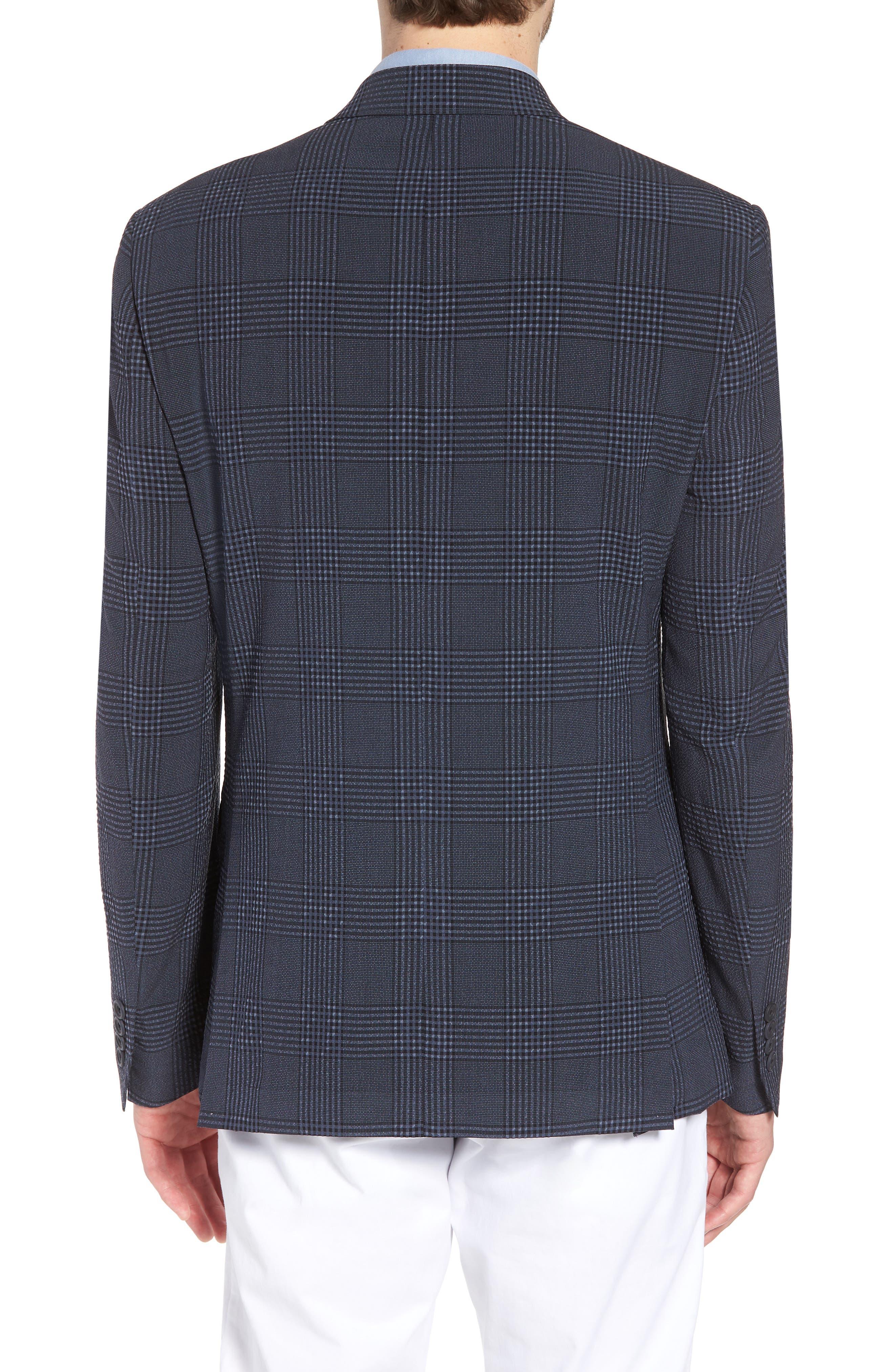 Trim Fit Plaid Wool Blend Sport Coat,                             Alternate thumbnail 2, color,                             Navy