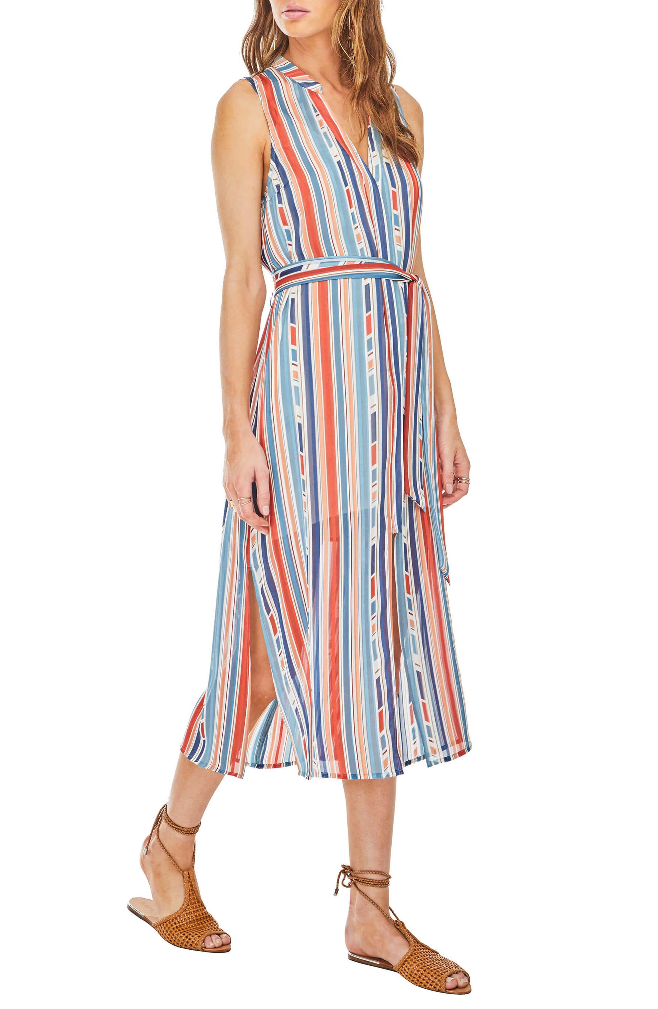 Kendall Midi Shirtdress,                             Alternate thumbnail 3, color,                             Geo Multi Stripe