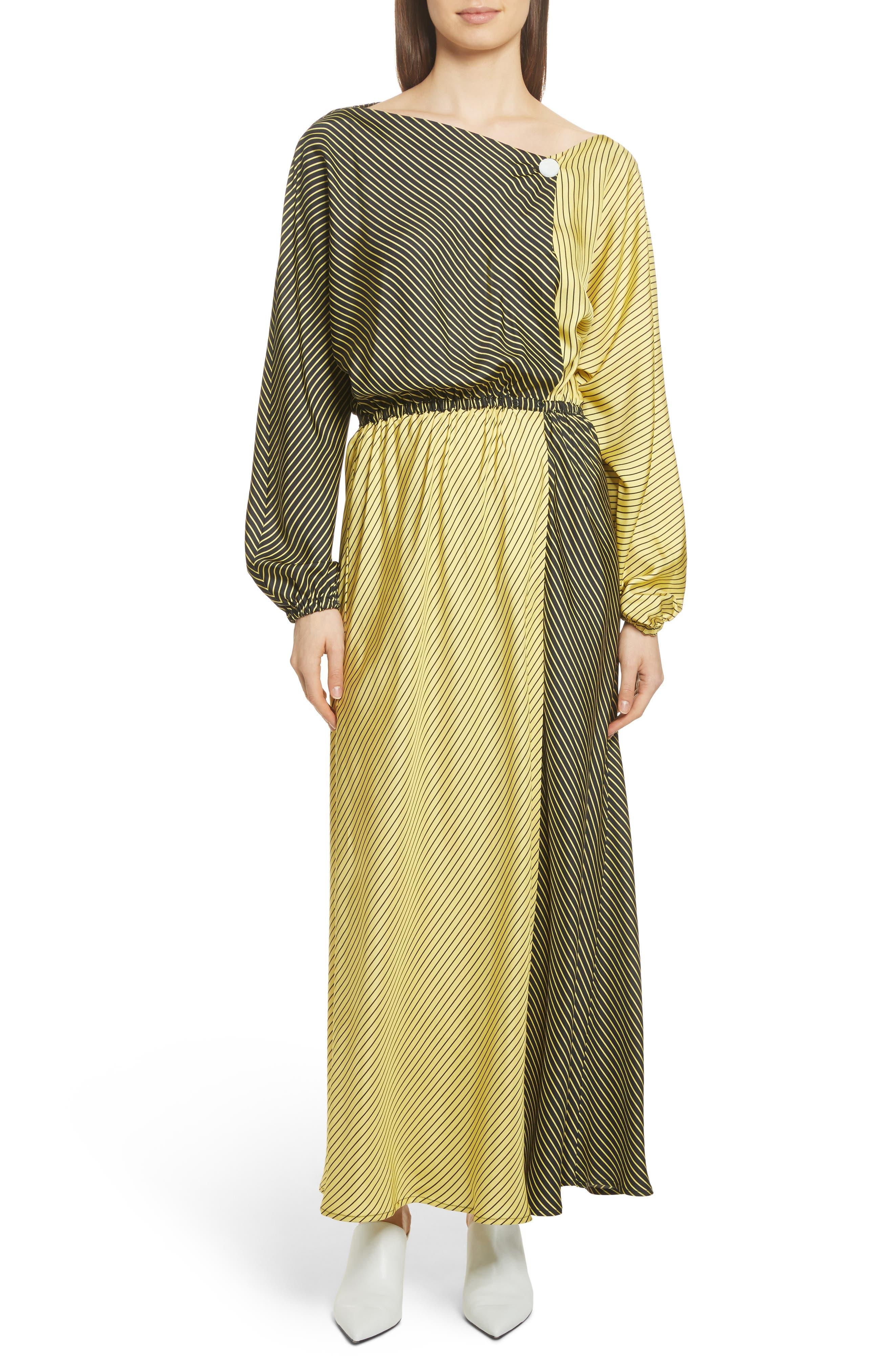 Colorblock Stripe Dress,                             Main thumbnail 1, color,                             Black/ Yellow