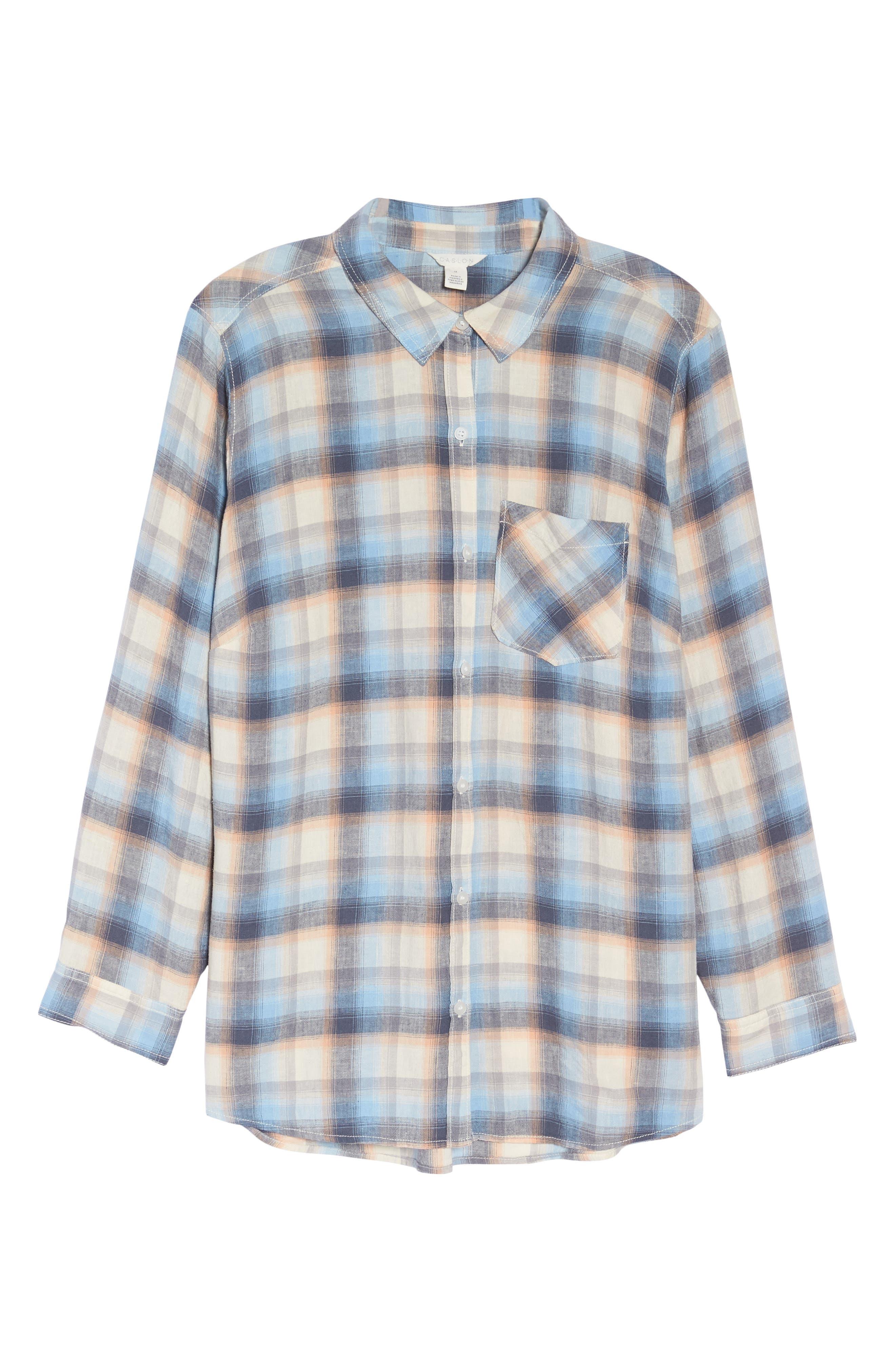 Plaid Linen Blend Shirt,                             Alternate thumbnail 7, color,                             Blue Plaid