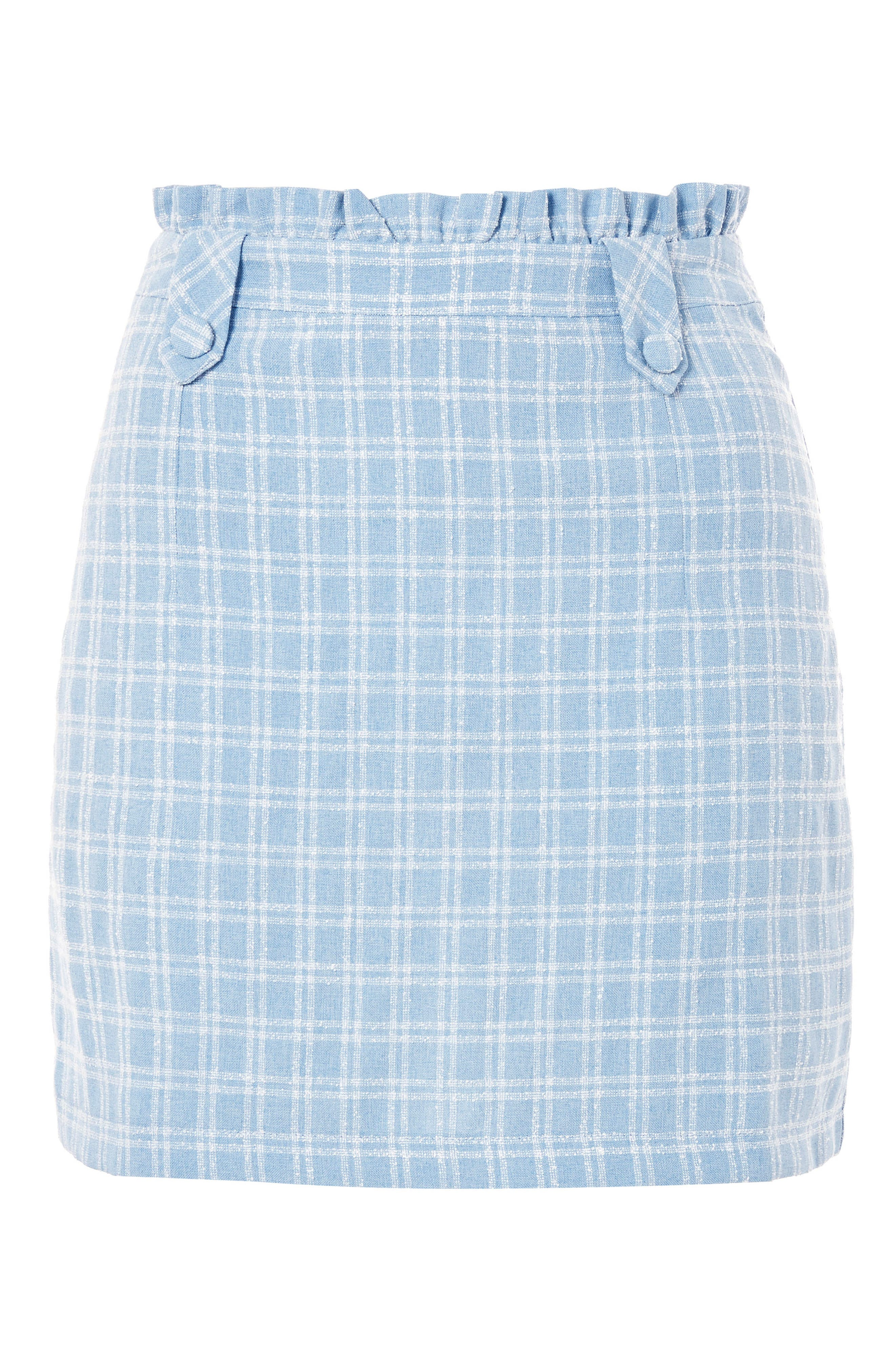 Check Bouclé Frill Miniskirt,                             Alternate thumbnail 3, color,                             Light Blue Multi