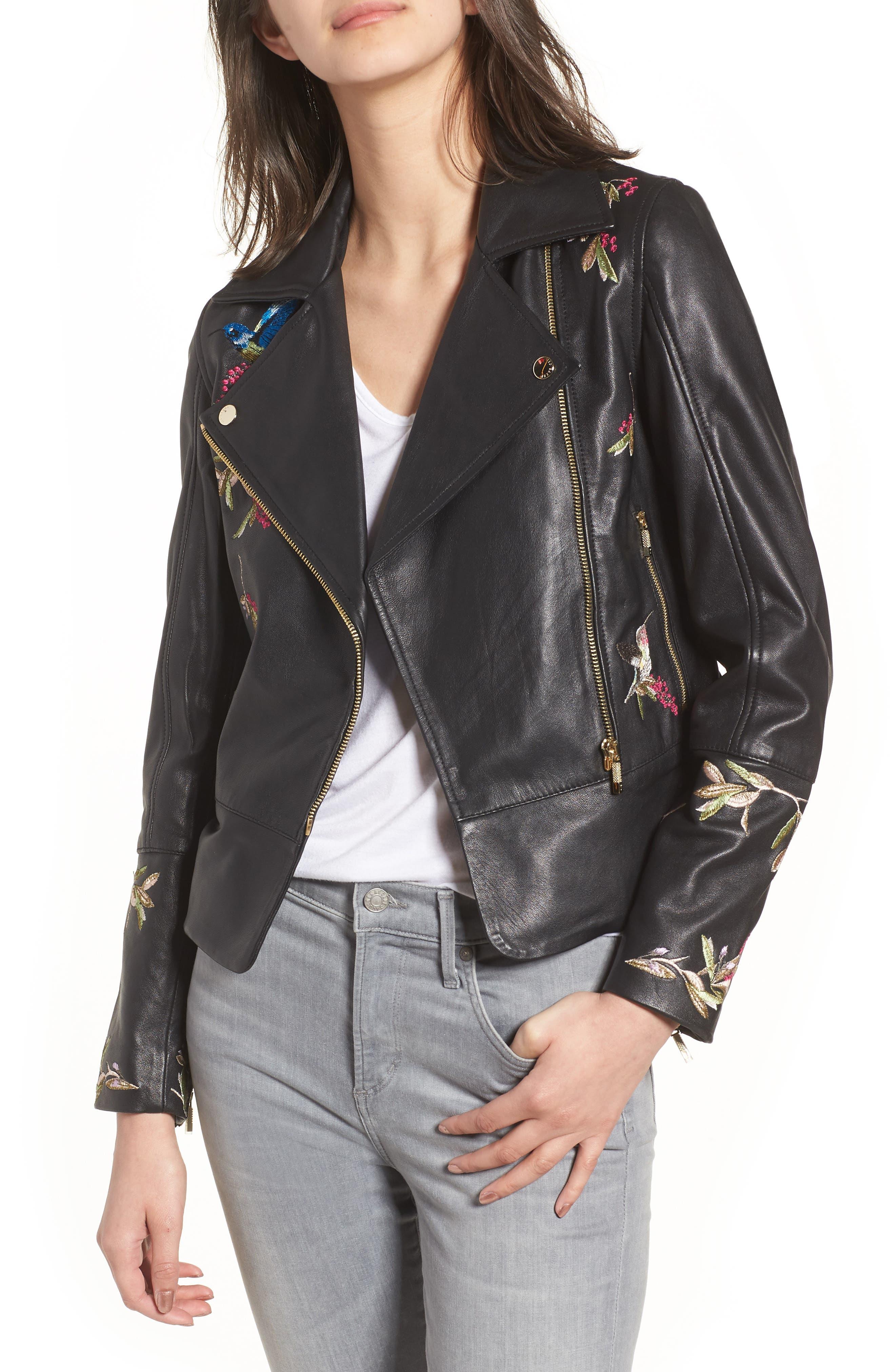 Highgrove Leather BIker Jacket,                             Main thumbnail 1, color,                             Black