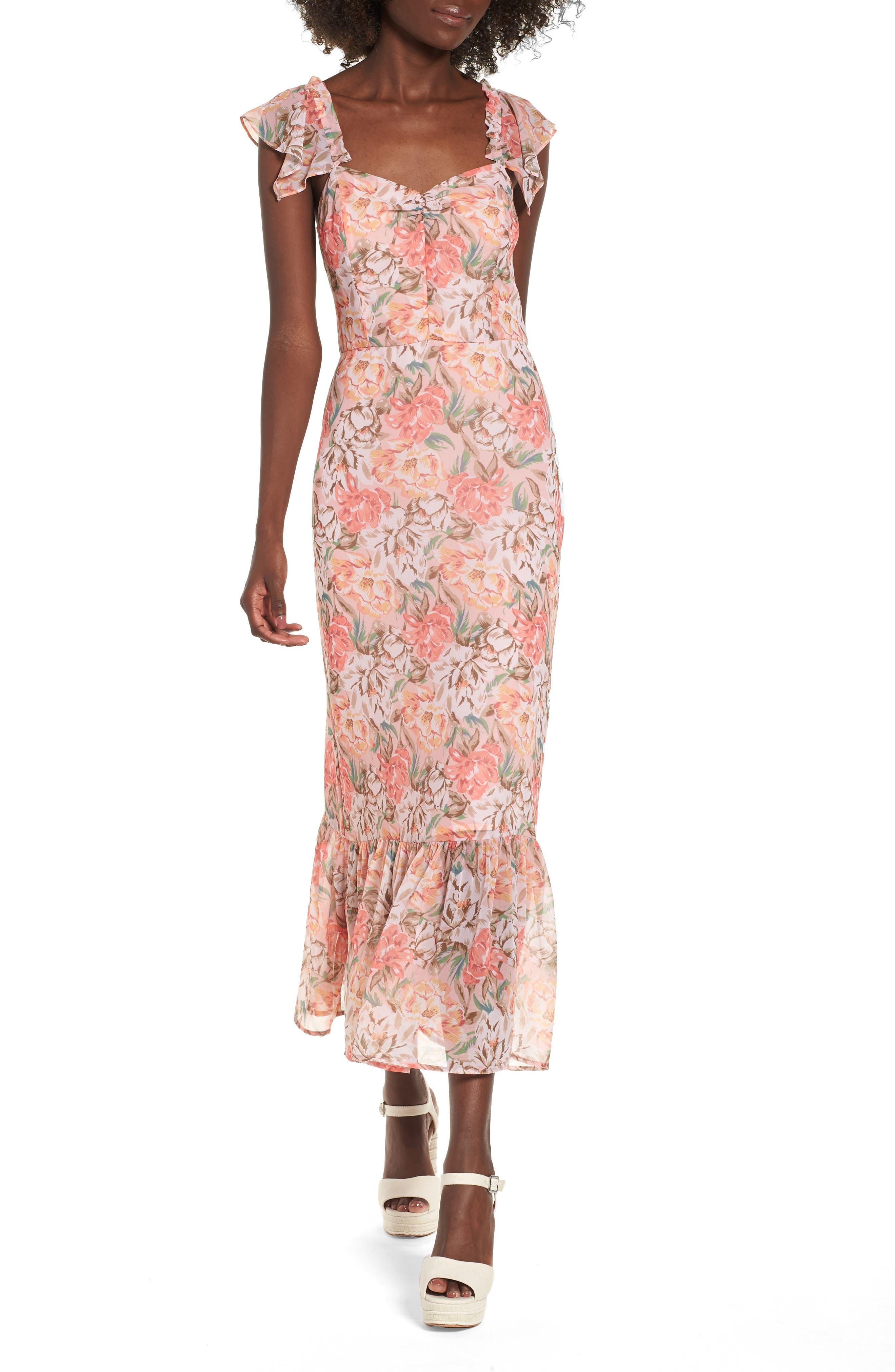 Valerie Blouson Midi Dress,                         Main,                         color, Coral Floral