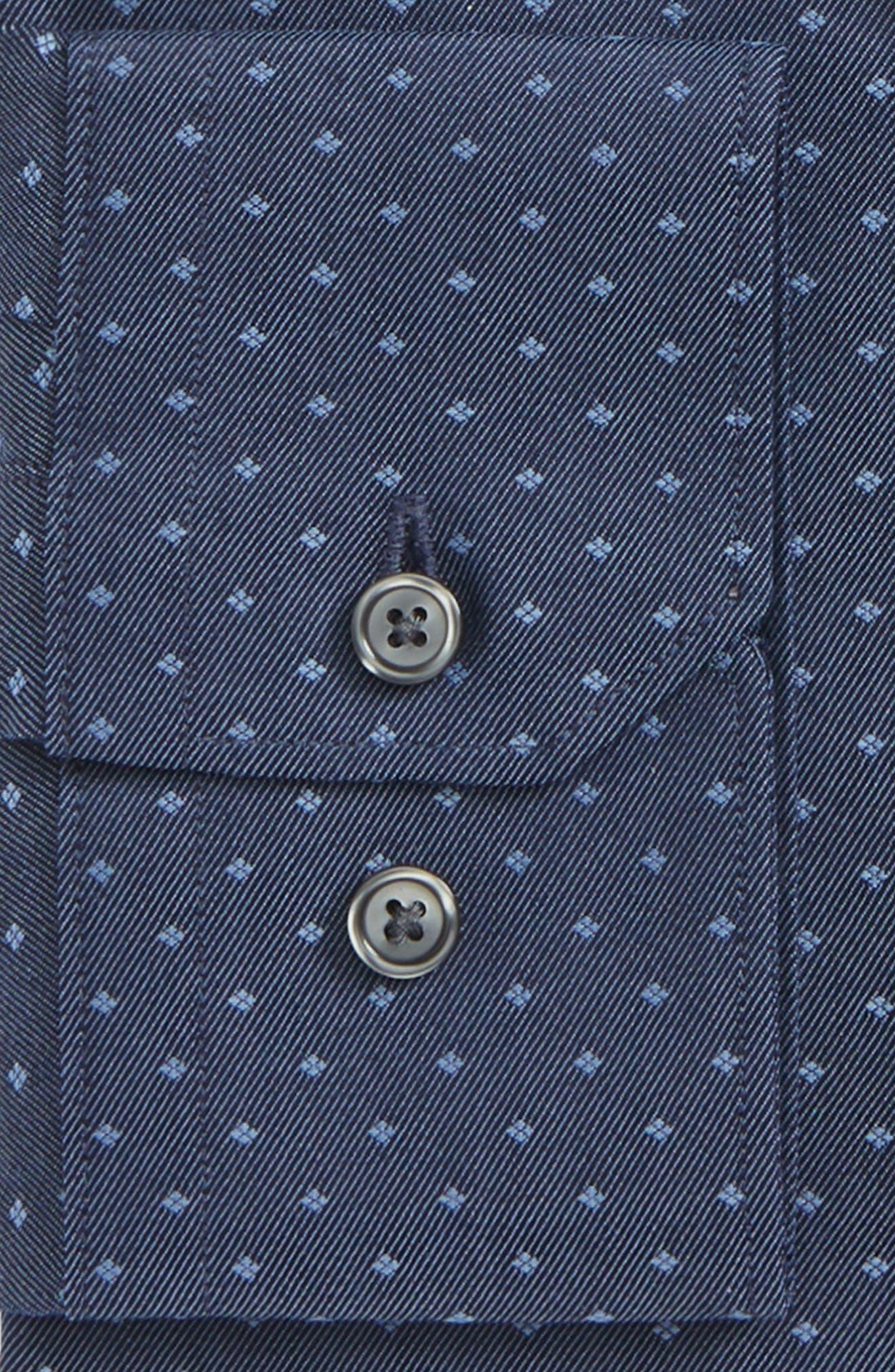 Extra Trim Fit Dot Dress Shirt,                             Alternate thumbnail 5, color,                             Navy Medieval