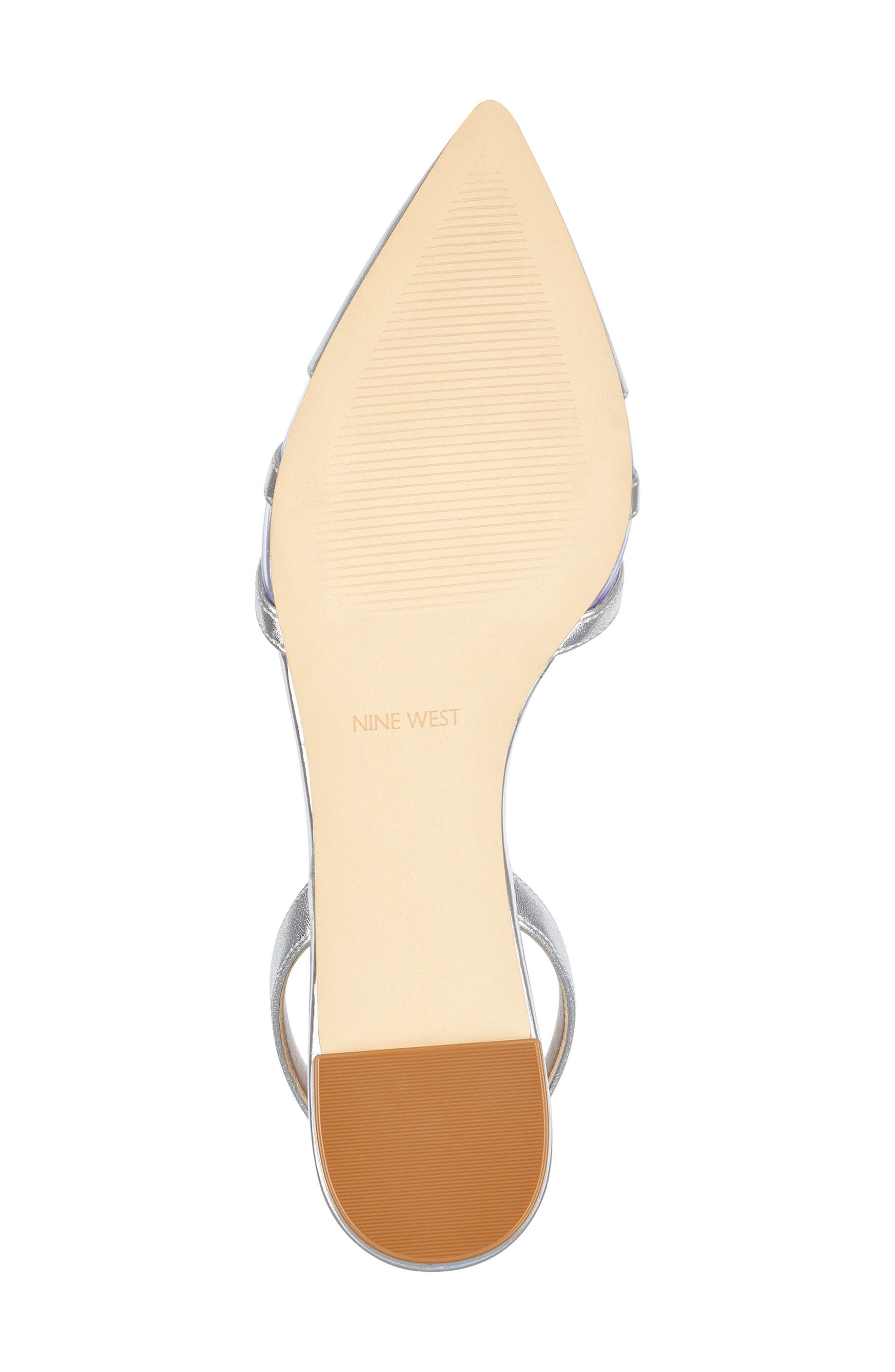Pointy Toe Flat,                             Alternate thumbnail 6, color,                             Clear/ Silver Faux Leather