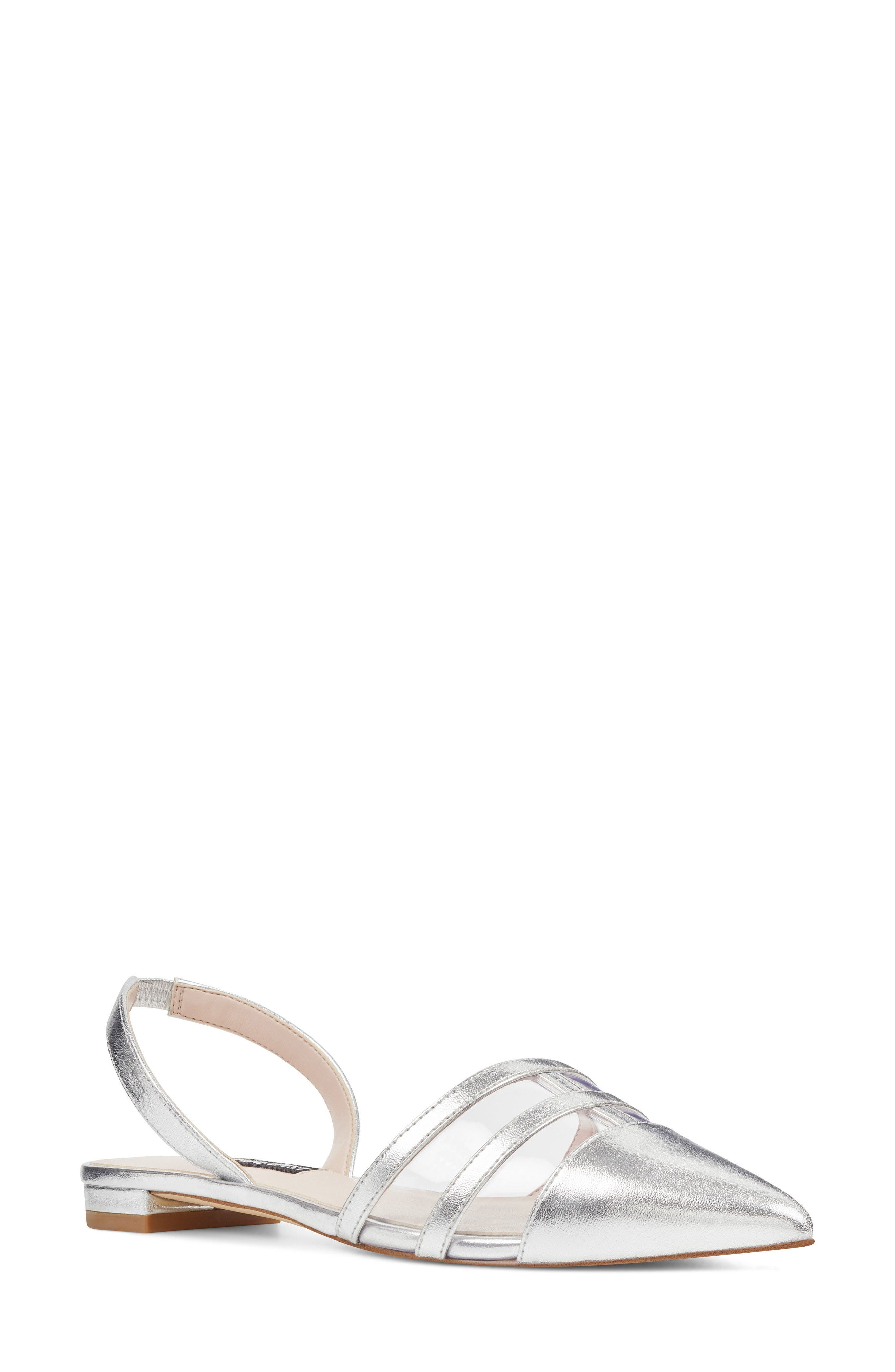 Pointy Toe Flat,                             Main thumbnail 1, color,                             Clear/ Silver Faux Leather