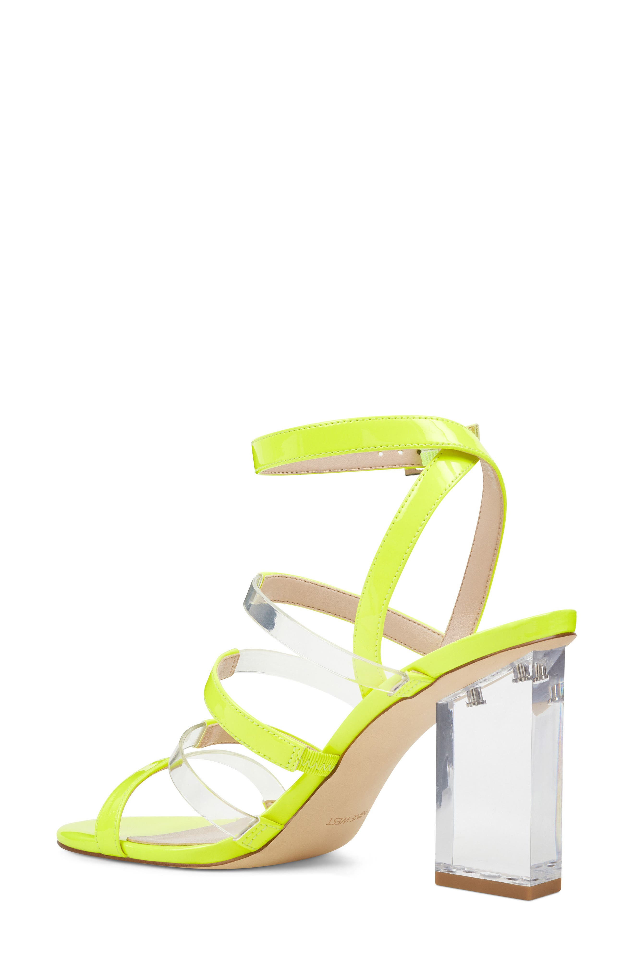 Fazzani Cage Sandal,                             Alternate thumbnail 2, color,                             Clear/ Yellow Faux Leather