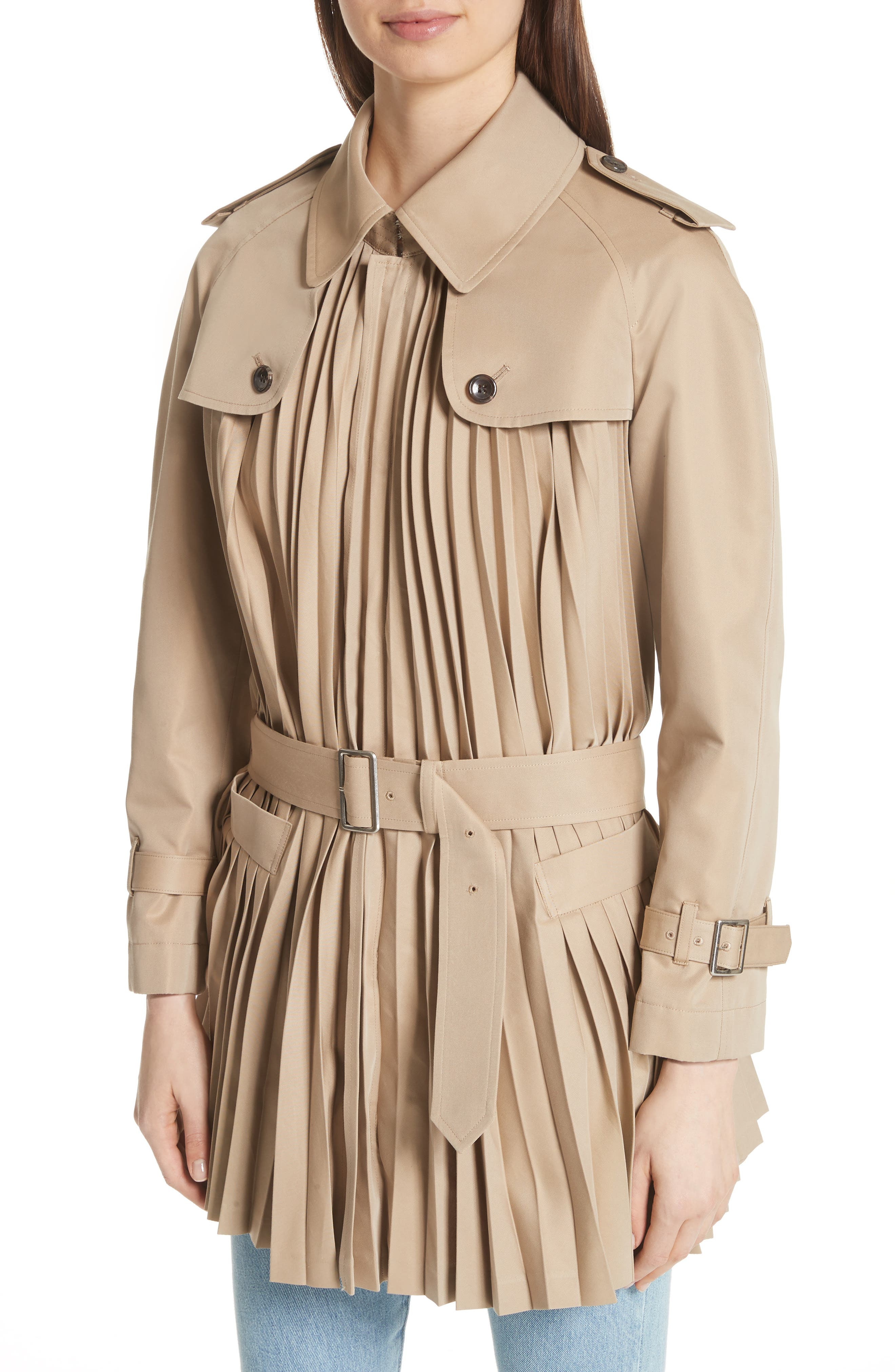 Pleated Cotton Blend Trench Coat,                             Alternate thumbnail 4, color,                             Beige