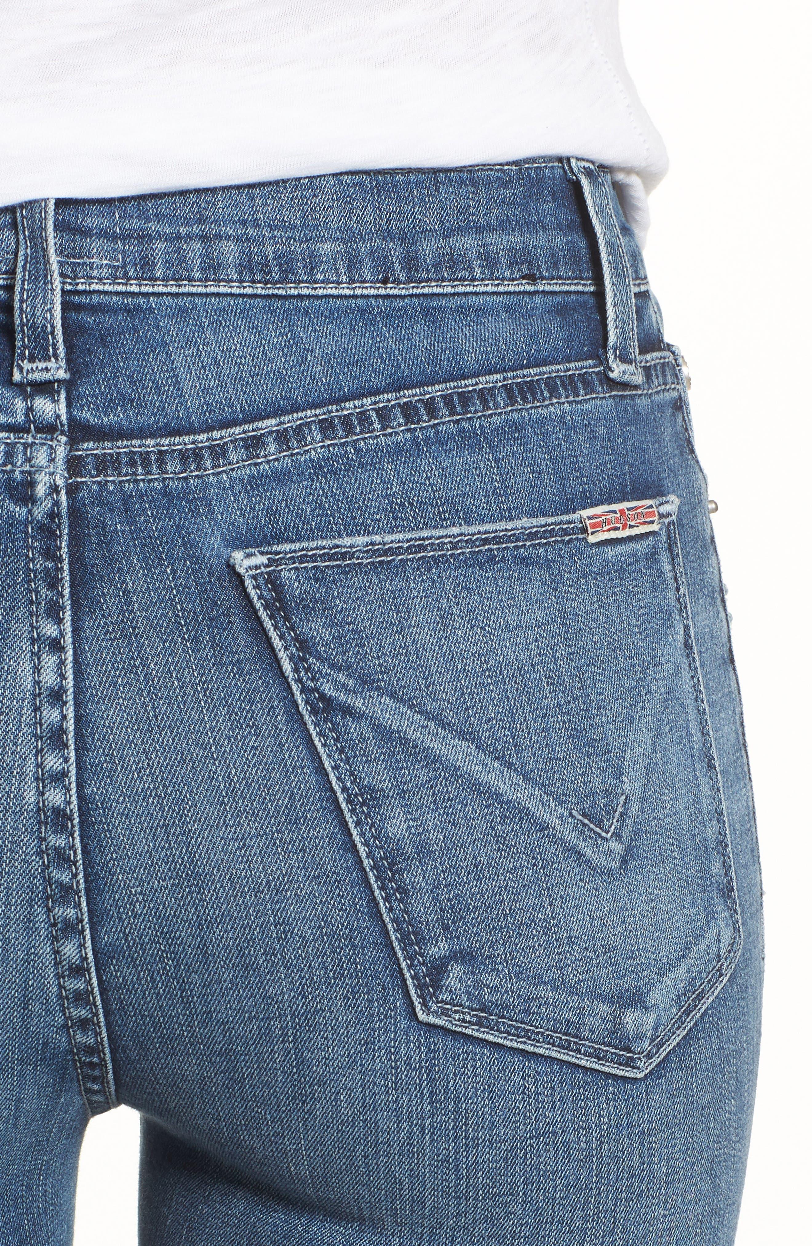 Hudson Barbara High Waist Ankle Skinny Jeans,                             Alternate thumbnail 4, color,                             Contender