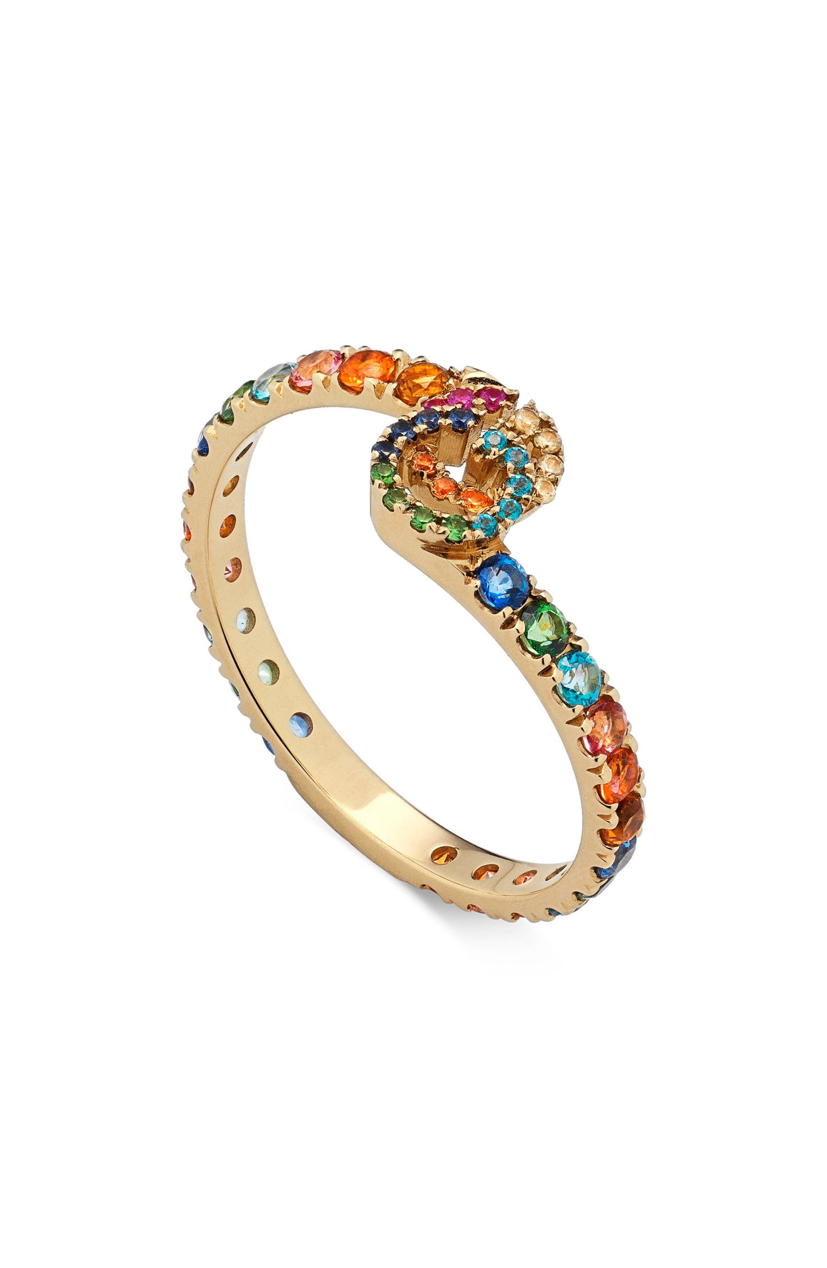 Double-G Running Gemstone Ring,                         Main,                         color, Rainbow