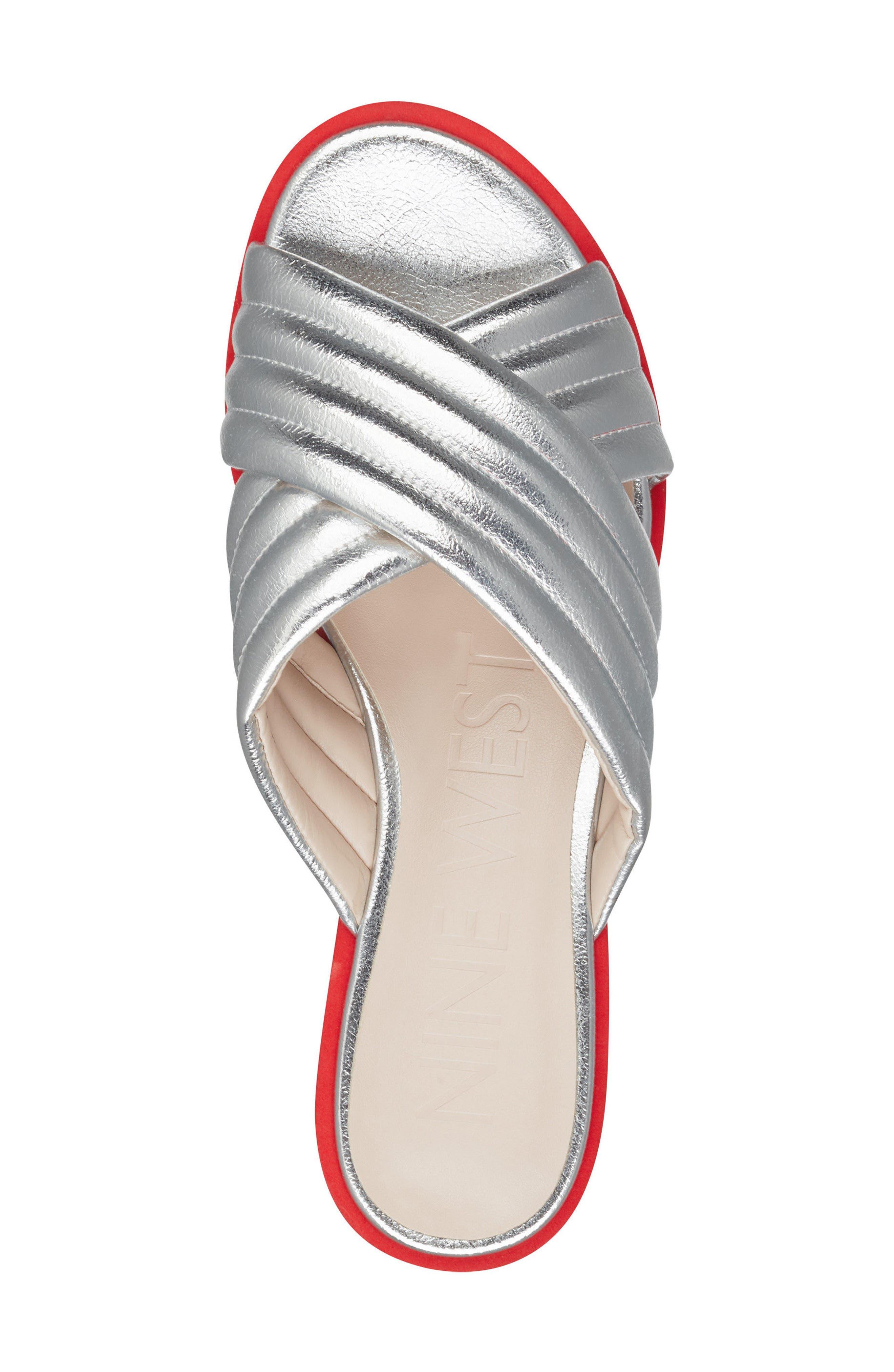 Zonita Platform Slide Sandal,                             Alternate thumbnail 5, color,                             Silver Faux Leather