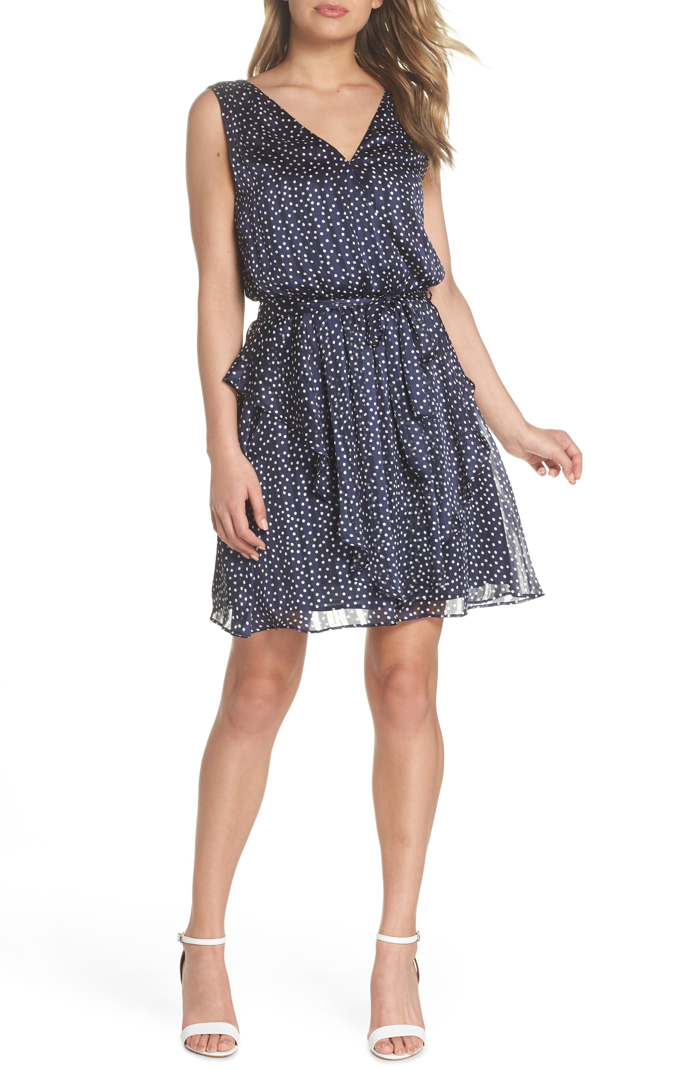 19 Cooper Surplus Polka Dot Tie Waist Chiffon Dress